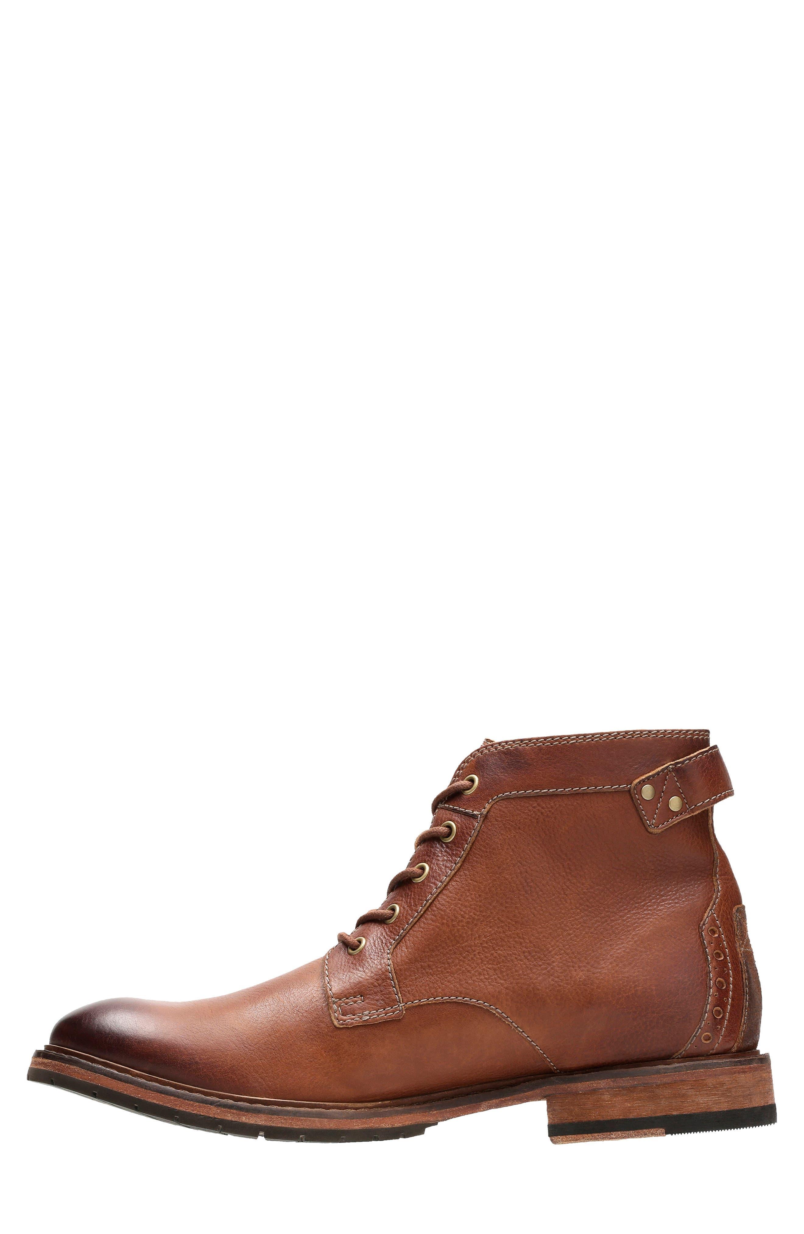 Clarkdale Bud Plain Toe Boot,                             Alternate thumbnail 6, color,                             DARK TAN LEATHER