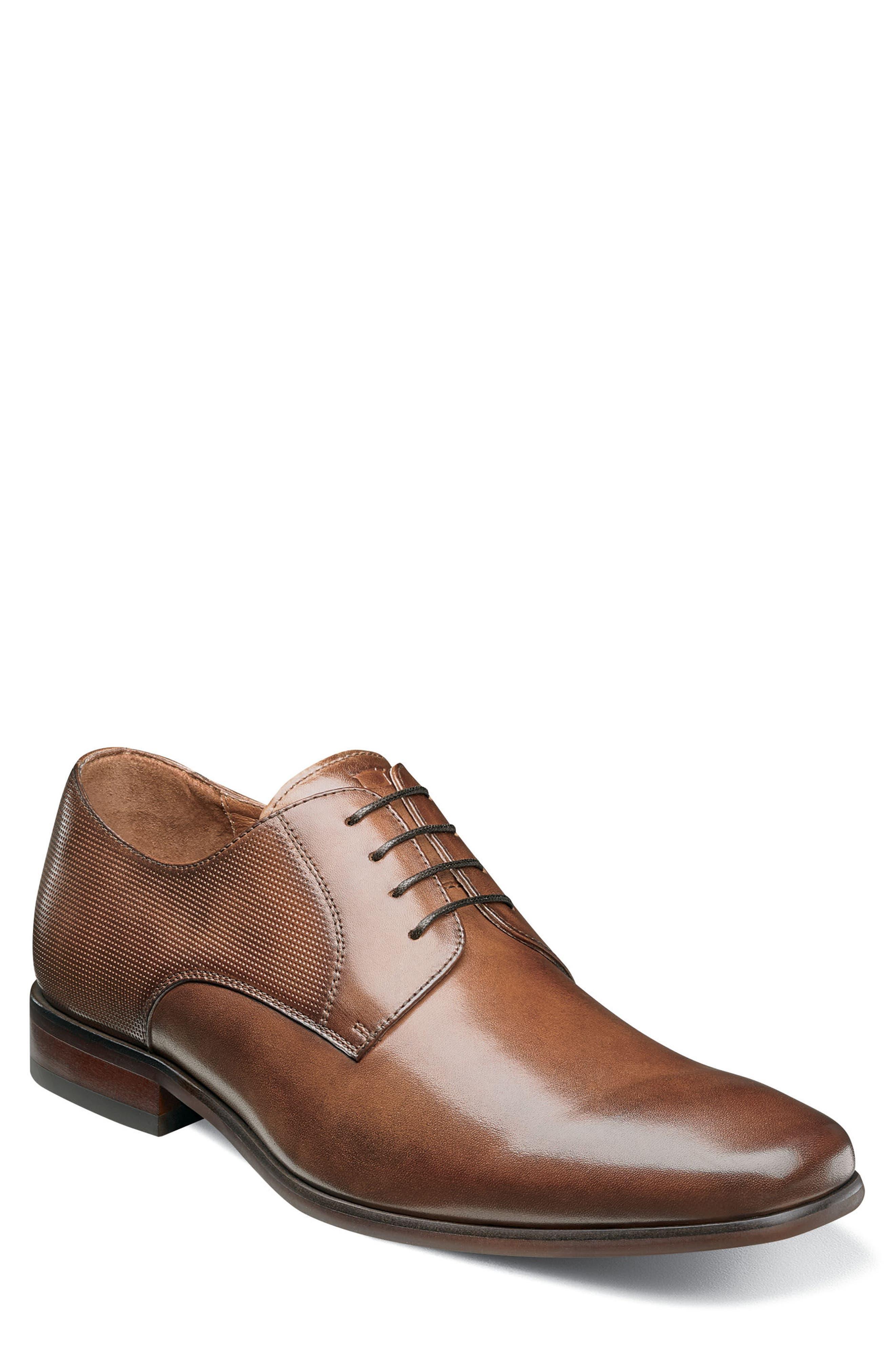 FLORSHEIM Postino Textured Plain Toe Derby, Main, color, COGNAC LEATHER