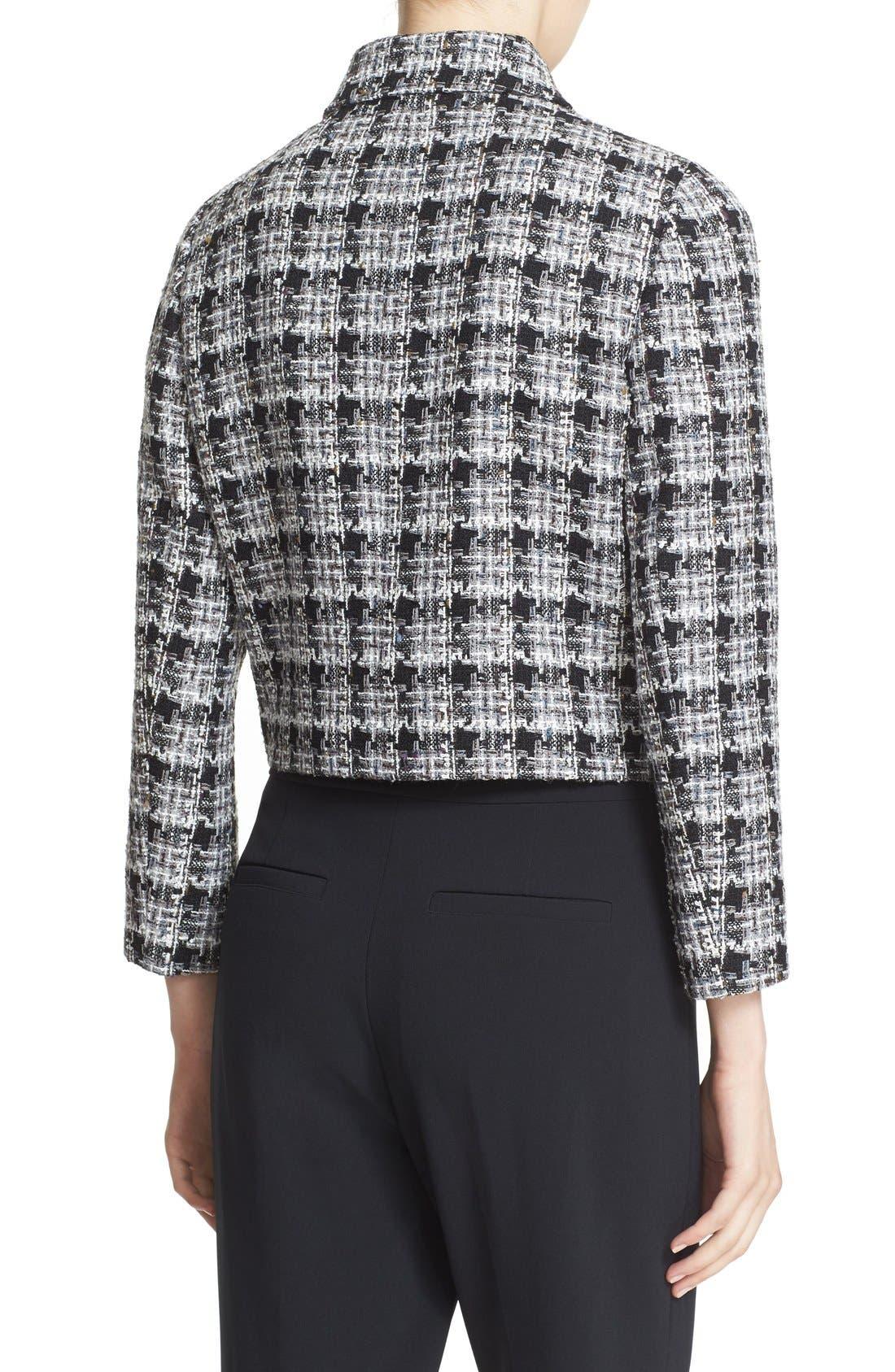 rosette bow tweed jacket,                             Alternate thumbnail 5, color,                             018
