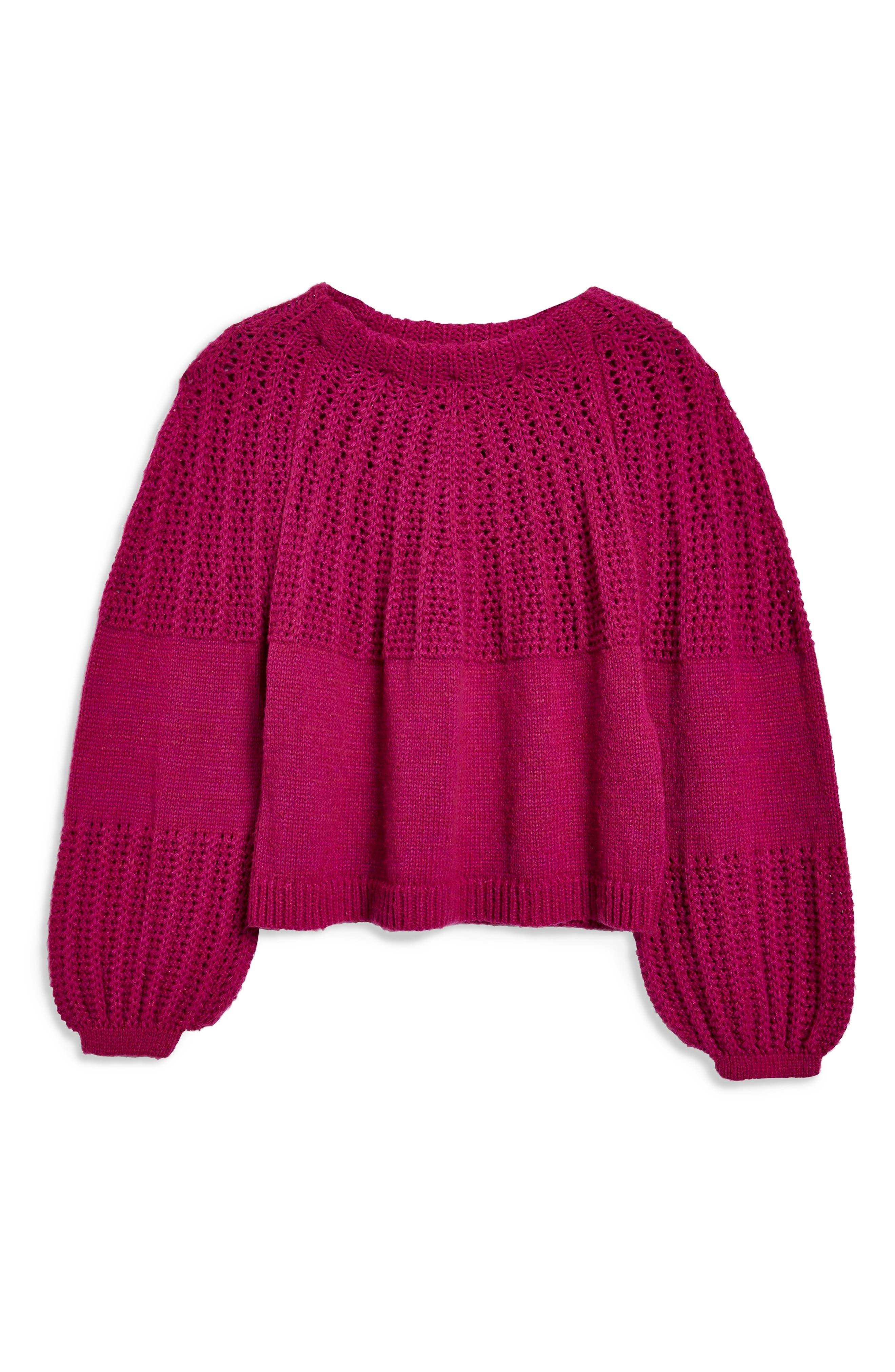 Pointelle Ball Sleeve Sweater,                             Alternate thumbnail 3, color,                             500