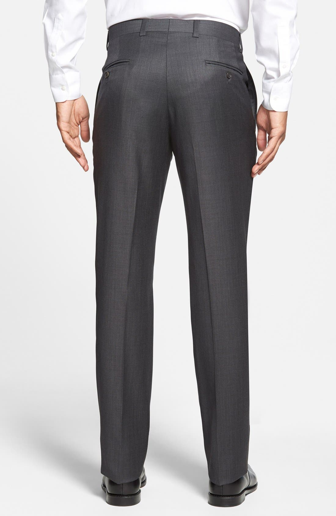 Jefferson Flat Front Wool Trousers,                             Alternate thumbnail 7, color,                             MID GREY