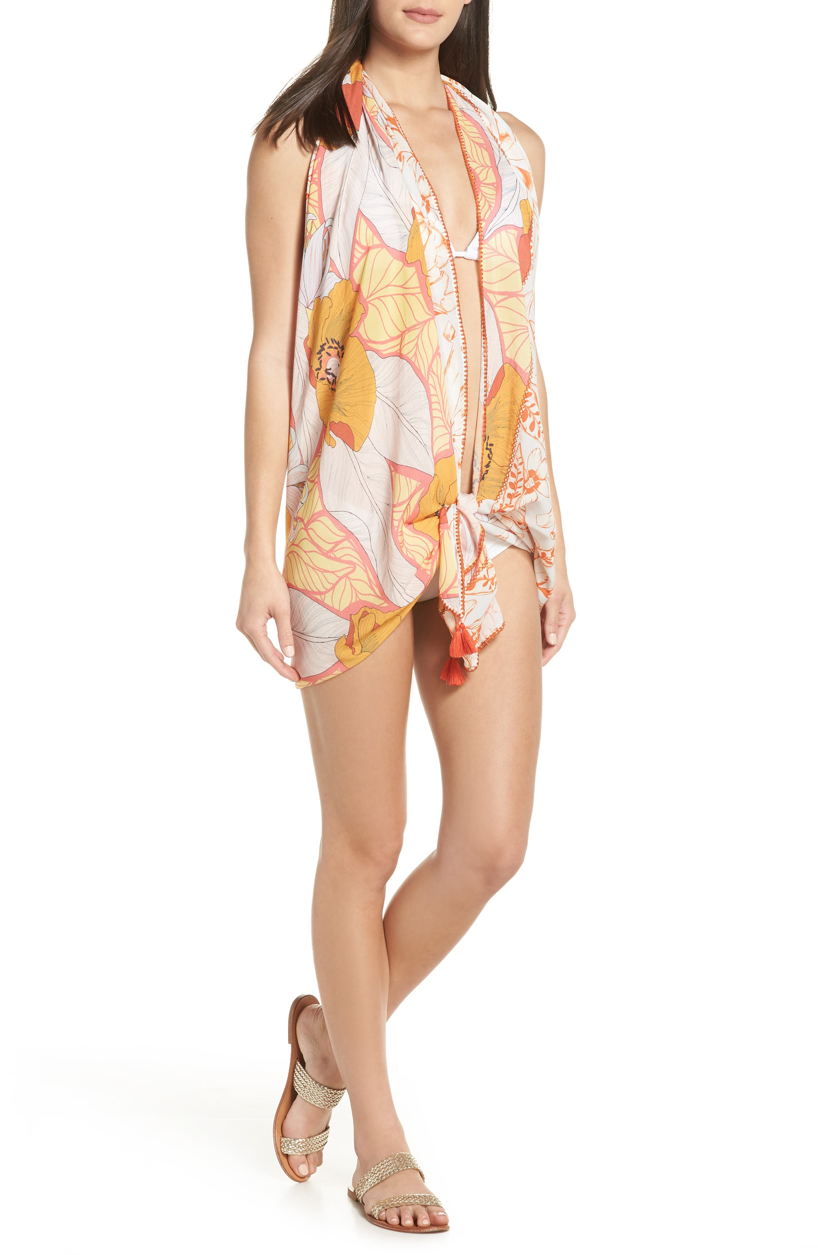 Mellow Yellow Leaf Pattern Pareo Cover-Up,                             Alternate thumbnail 4, color,                             700