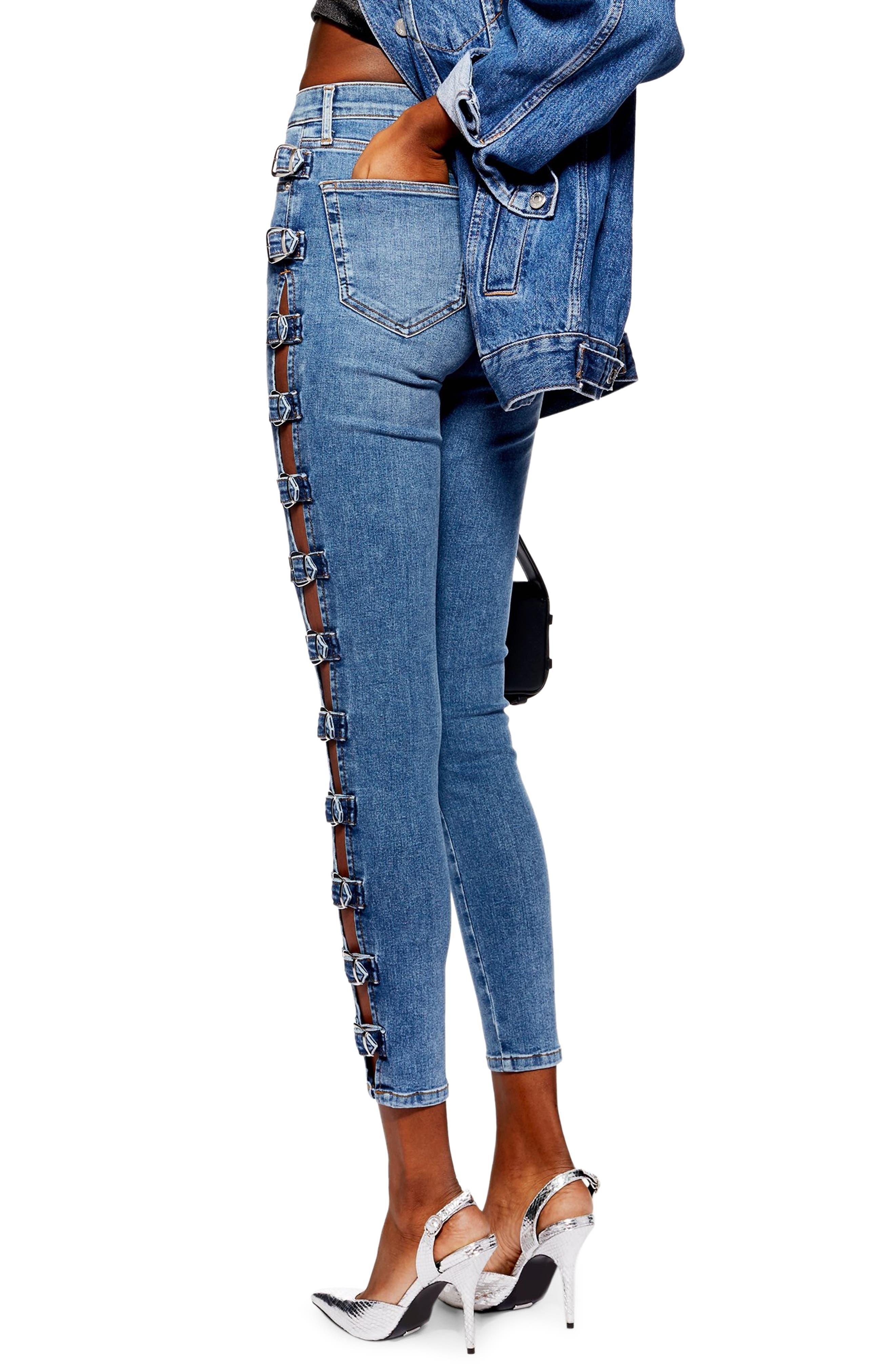 TOPSHOP,                             Jamie Side Buckle Jeans,                             Alternate thumbnail 2, color,                             420