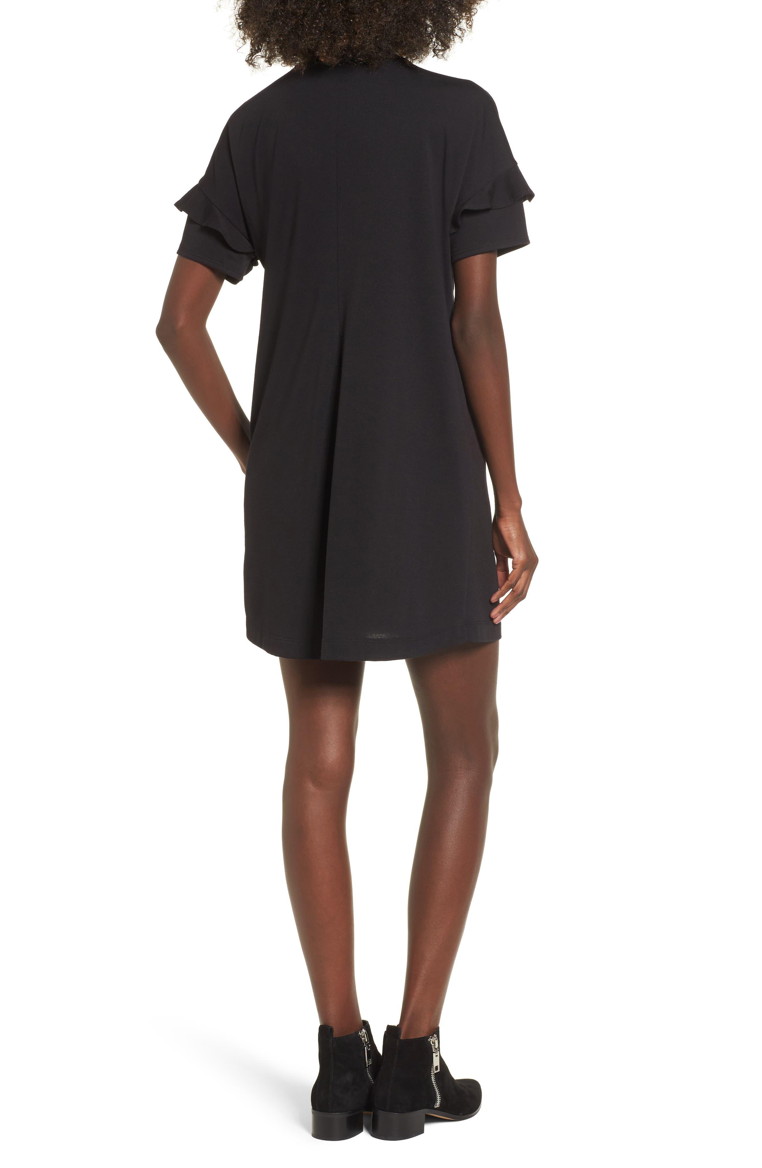 Ruffle Sleeve T-Shirt Dress,                             Alternate thumbnail 2, color,                             BLACK