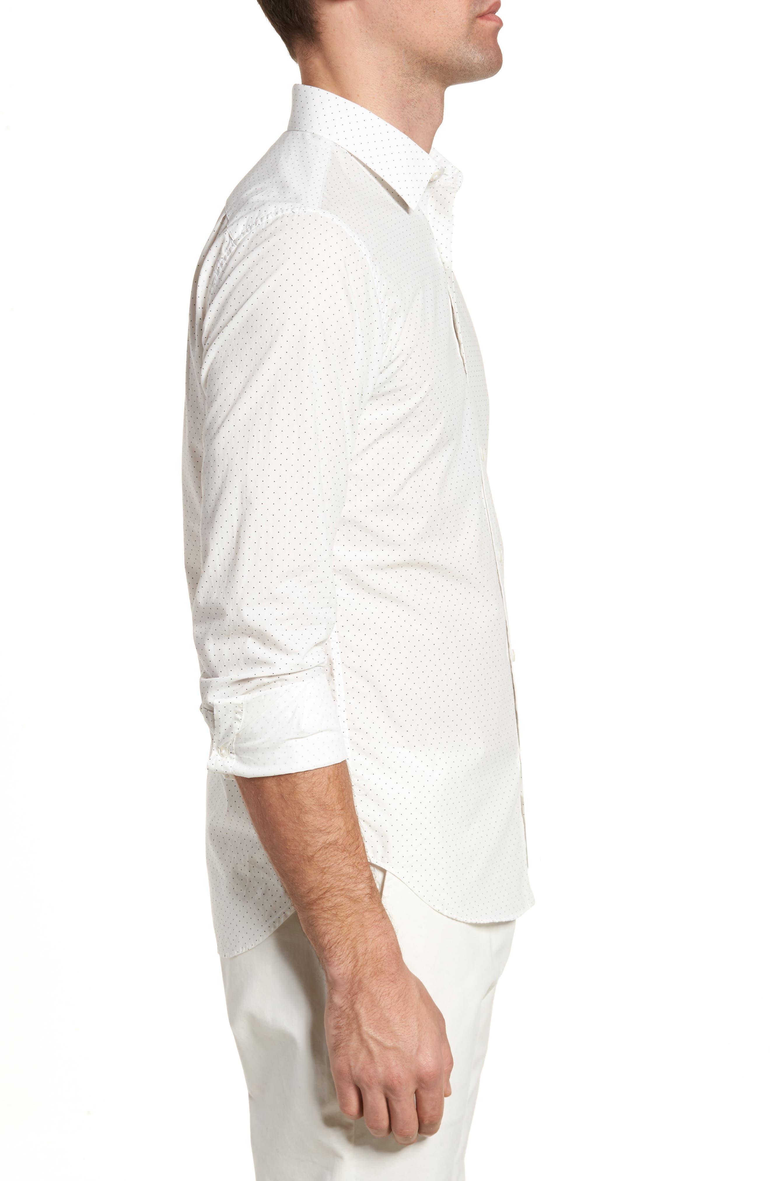 Unbutton Down 2.0 Slim Fit Dot Sport Shirt,                             Alternate thumbnail 3, color,                             100