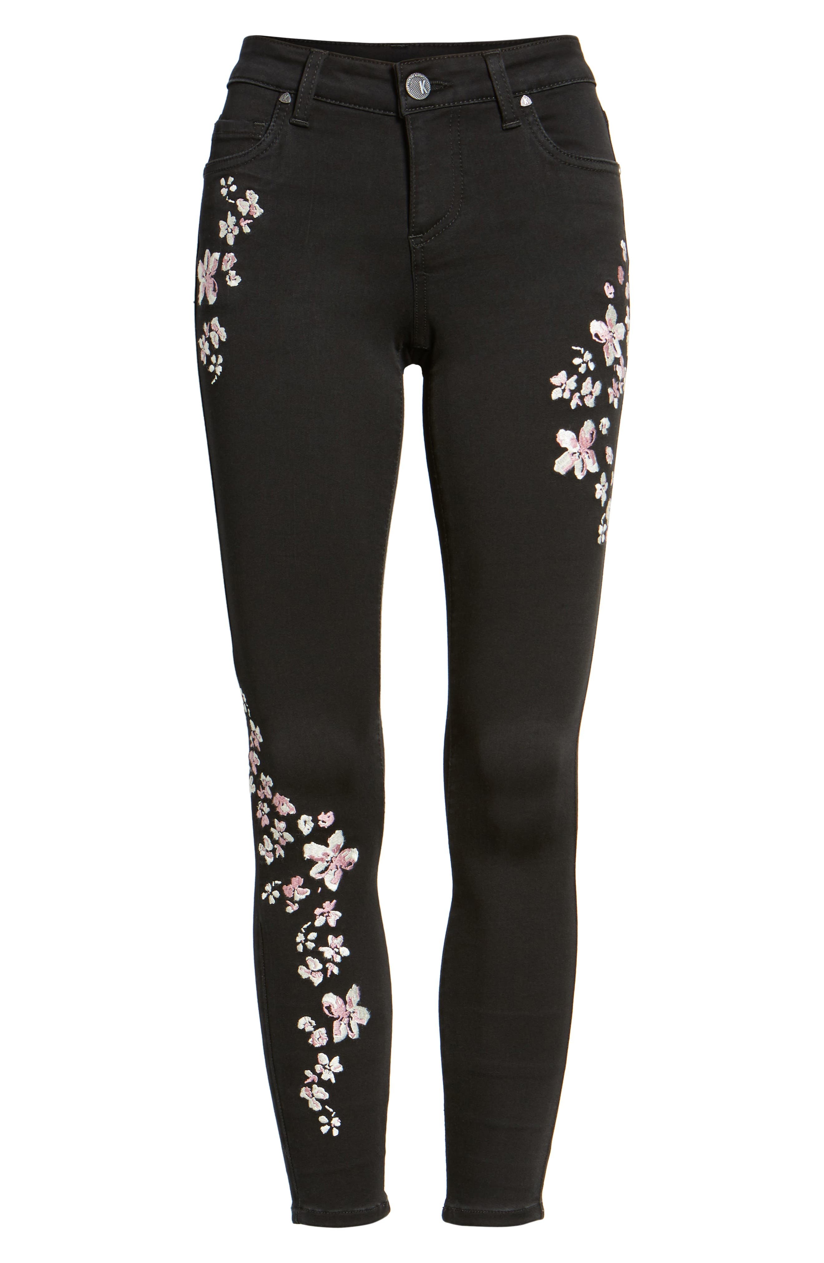 Connie Embroidered Skinny Ankle Jeans,                             Alternate thumbnail 6, color,                             002