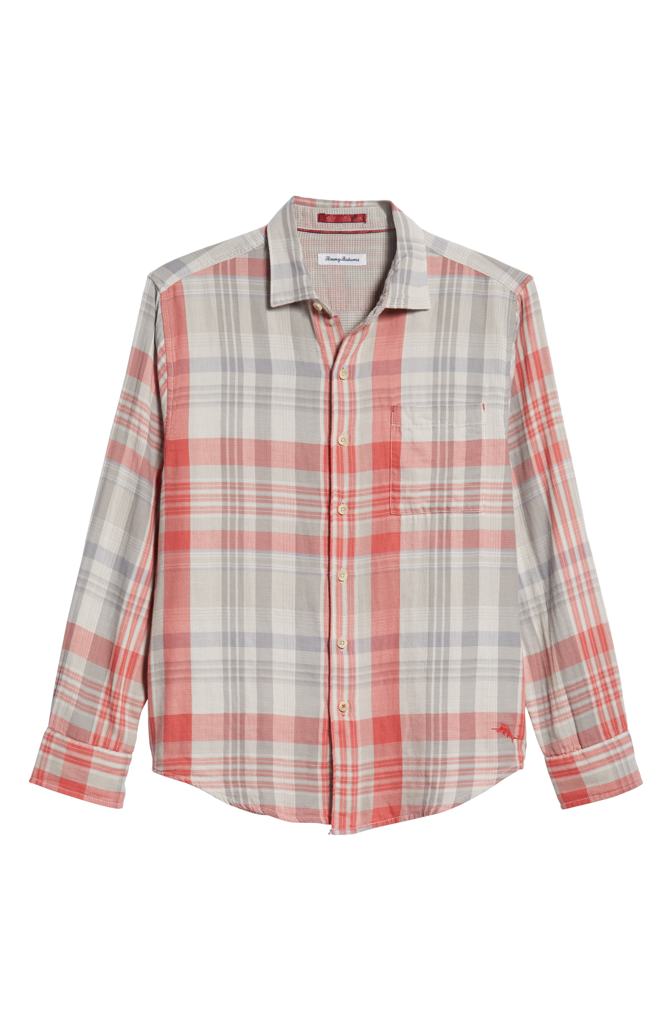 Monteverde Madras Regular Fit Shirt,                             Alternate thumbnail 5, color,                             POINCIANA