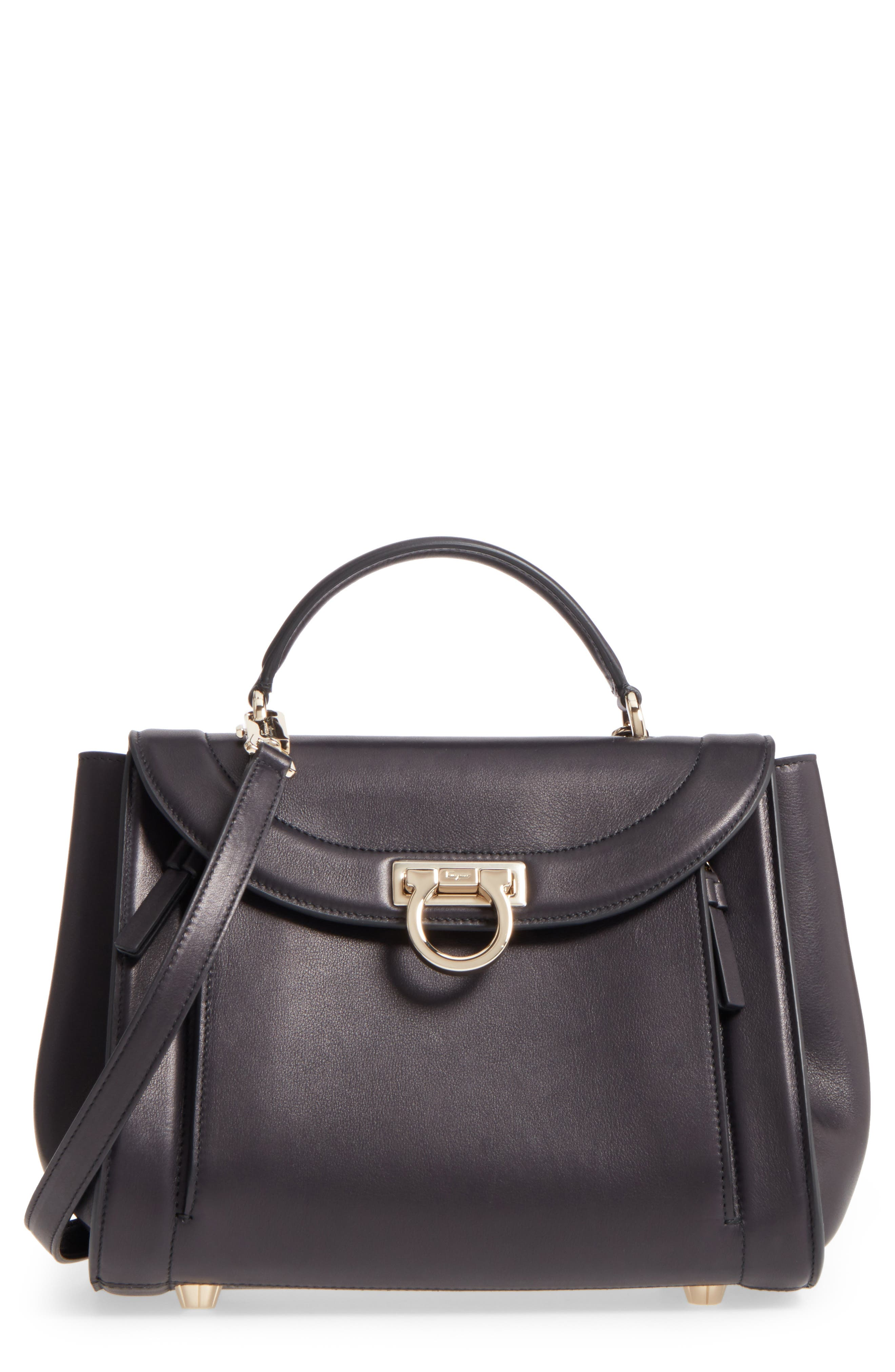 Small Sophia Leather Satchel,                         Main,                         color, 001
