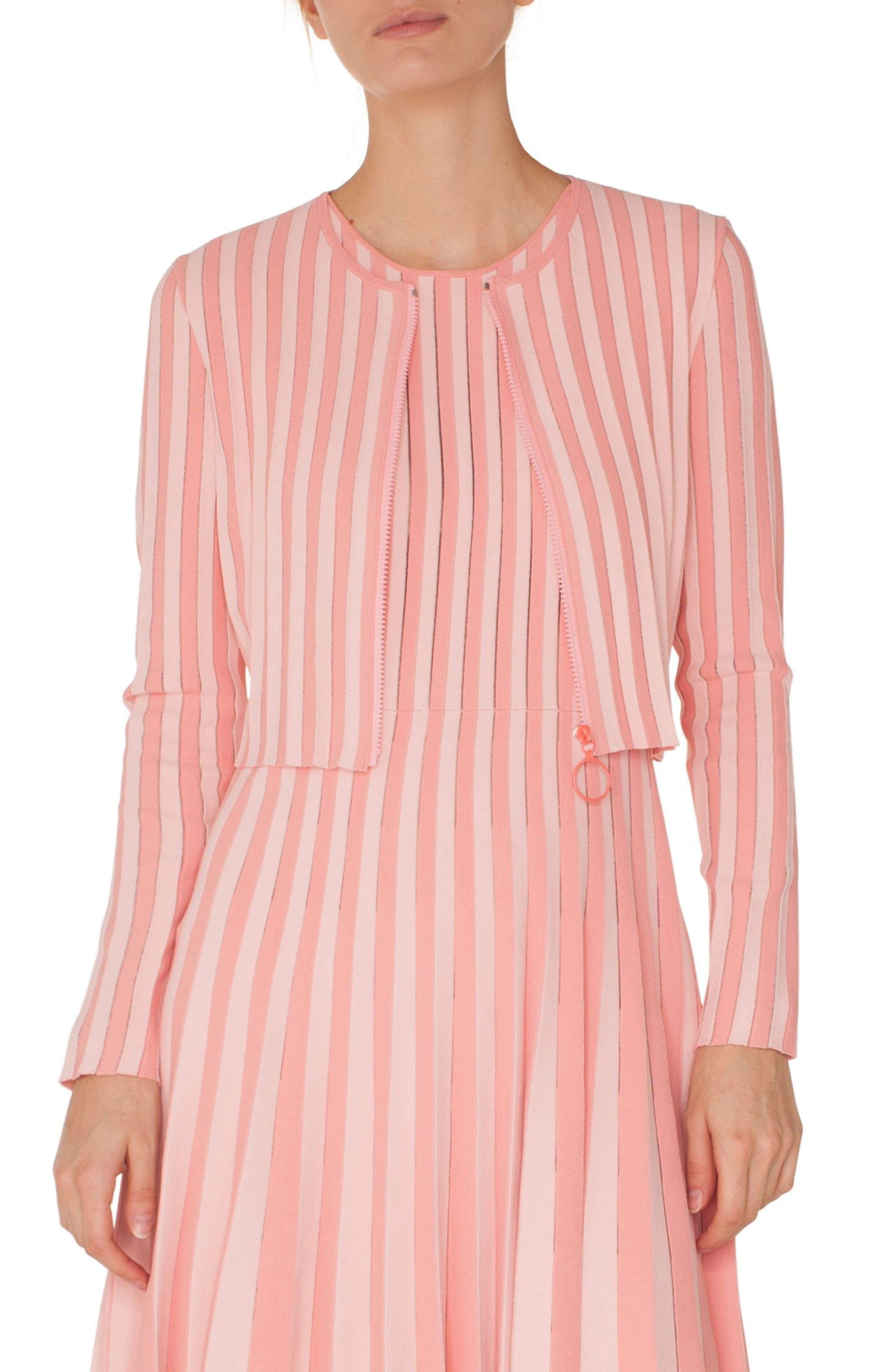 Akris Punto Stripe Cardigan Bolero, Pink