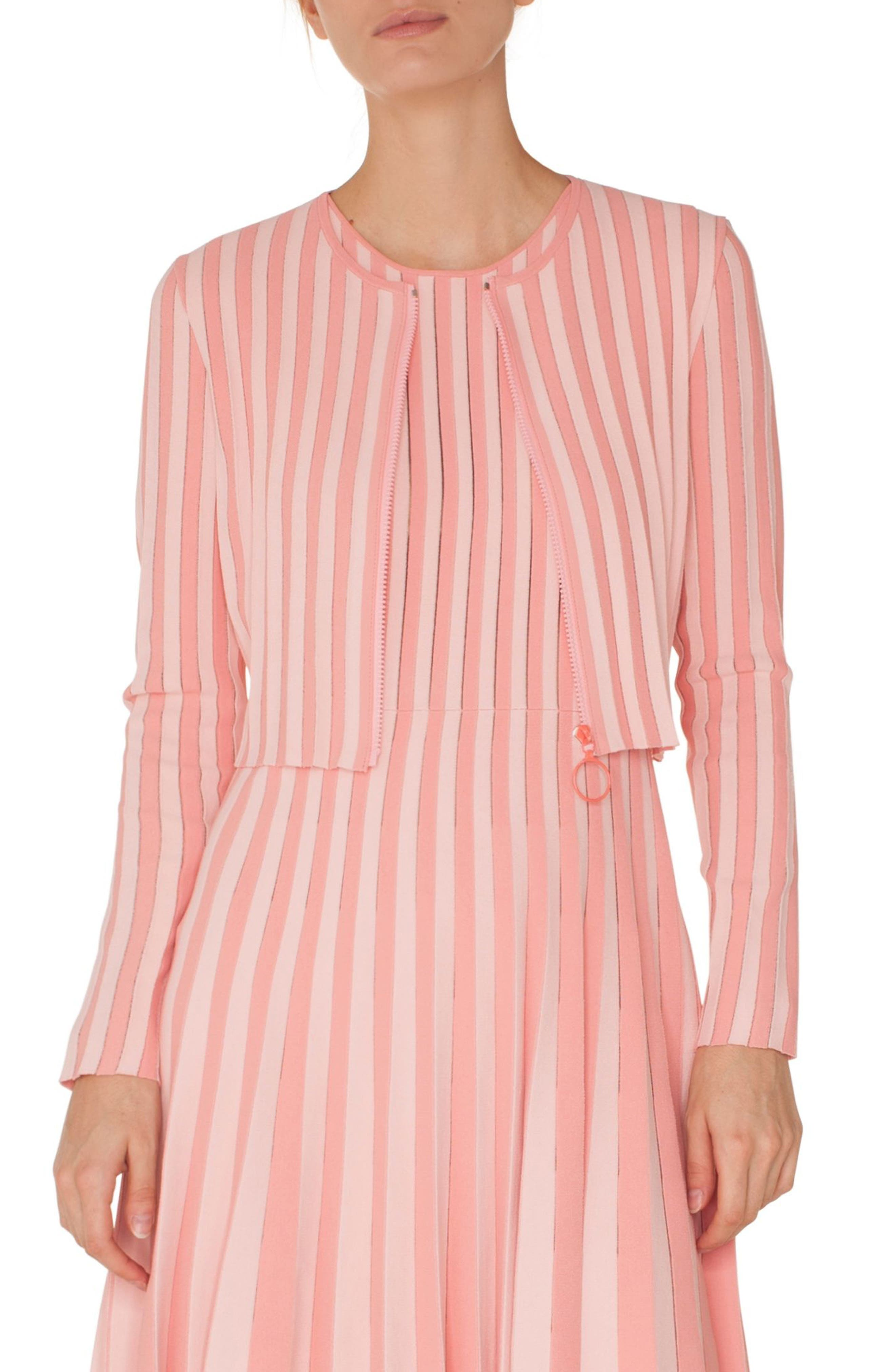 AKRIS PUNTO Zip-Front Long-Sleeve Striped Knit Cropped Bolero in Rose - Peony