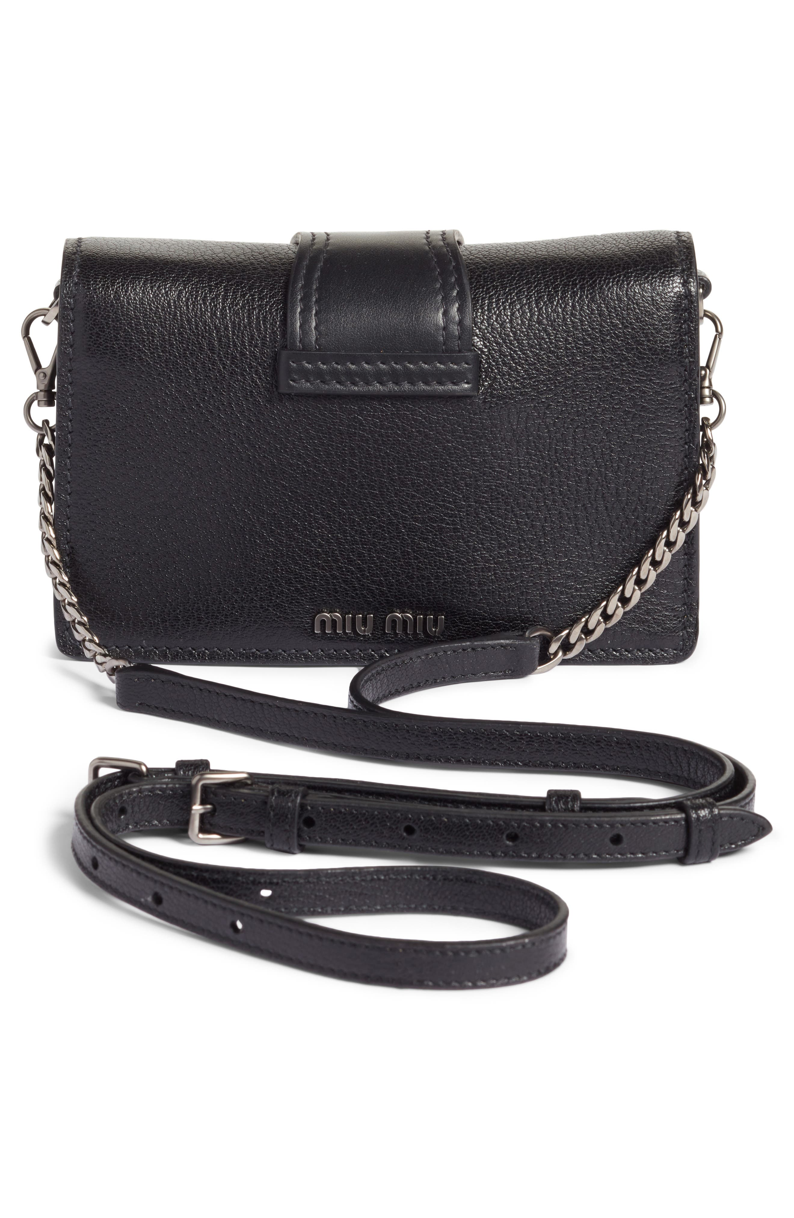 Lady Madras Crystal Embellished Leather Crossbody Bag,                             Alternate thumbnail 3, color,                             001