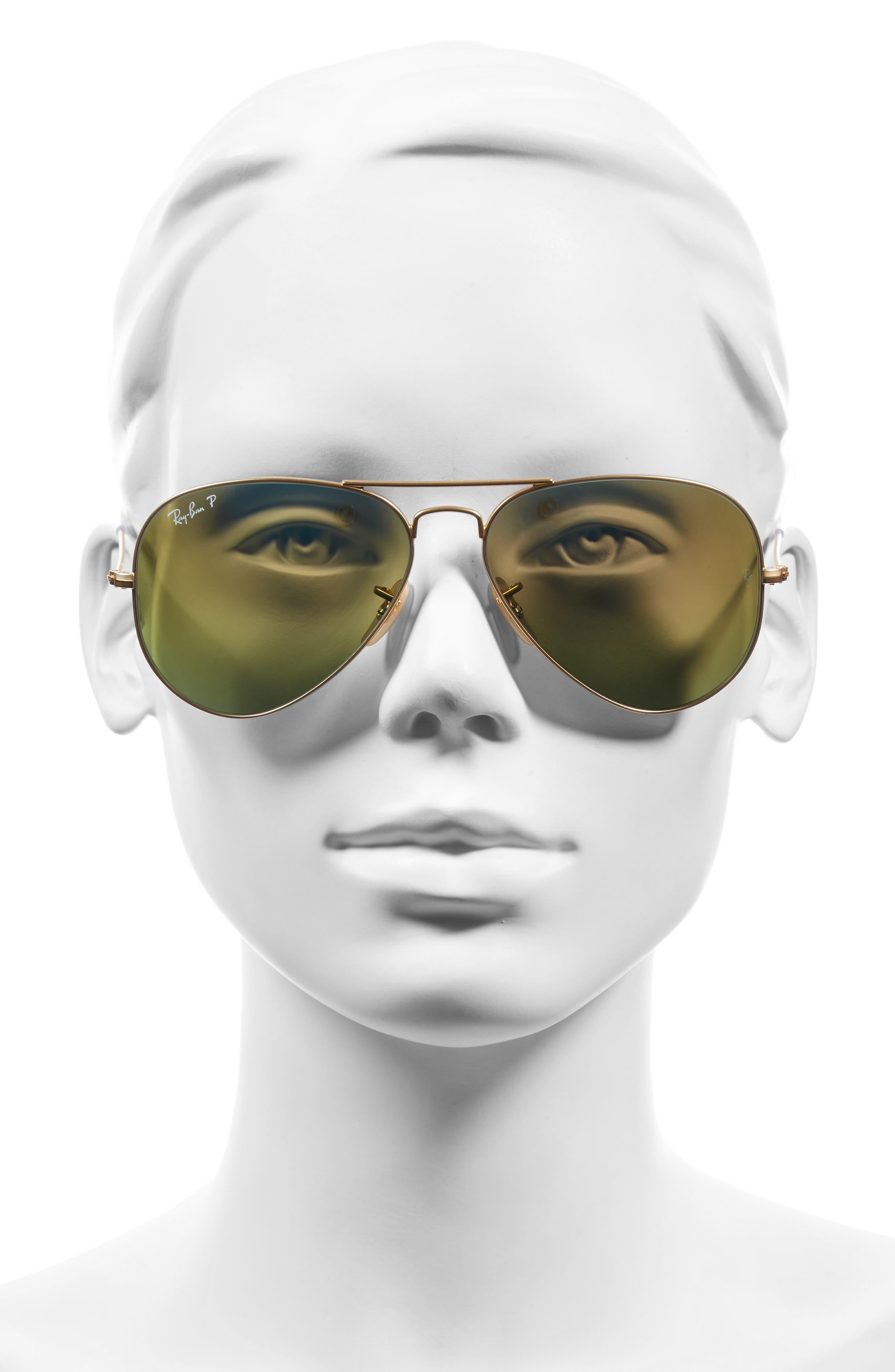 58mm Polarized Aviator Sunglasses,                             Alternate thumbnail 3, color,                             MATTE GOLD/ BLUE MIRROR