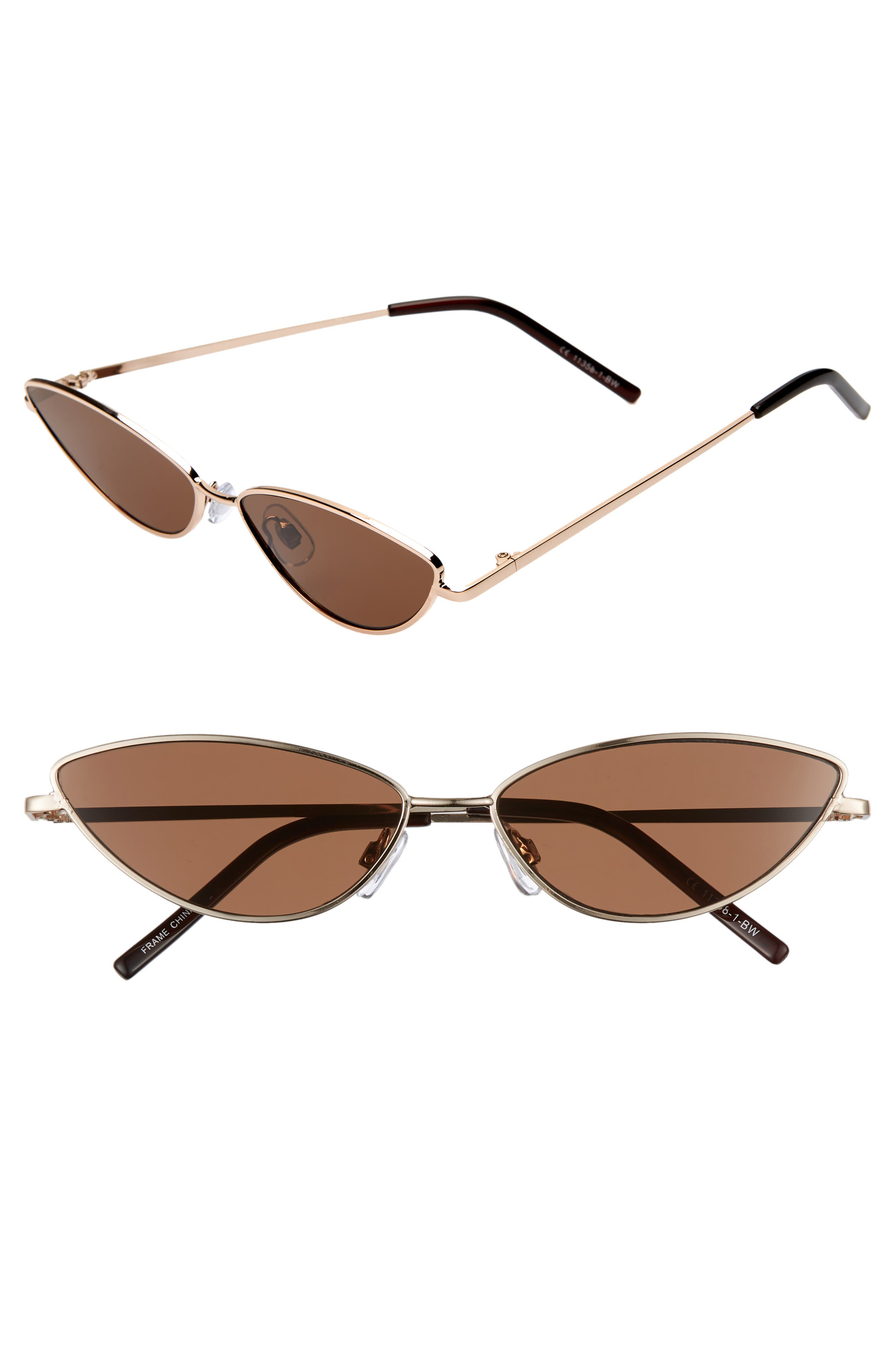 57mm Wide Cat Eye Sunglasses,                             Main thumbnail 1, color,                             GOLD/ BROWN