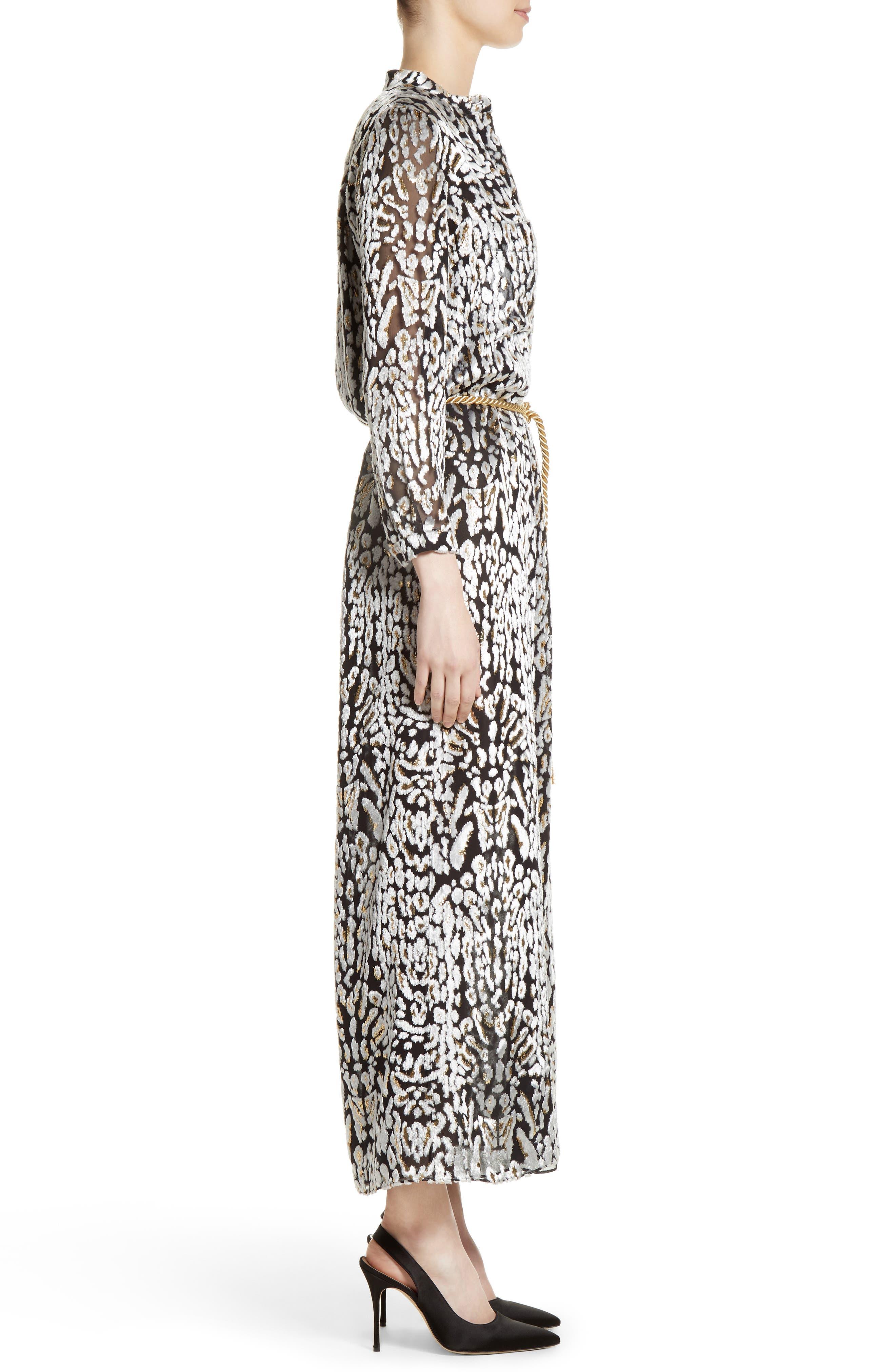 Ocelot Print Velvet Jacquard Dress,                             Alternate thumbnail 3, color,                             001