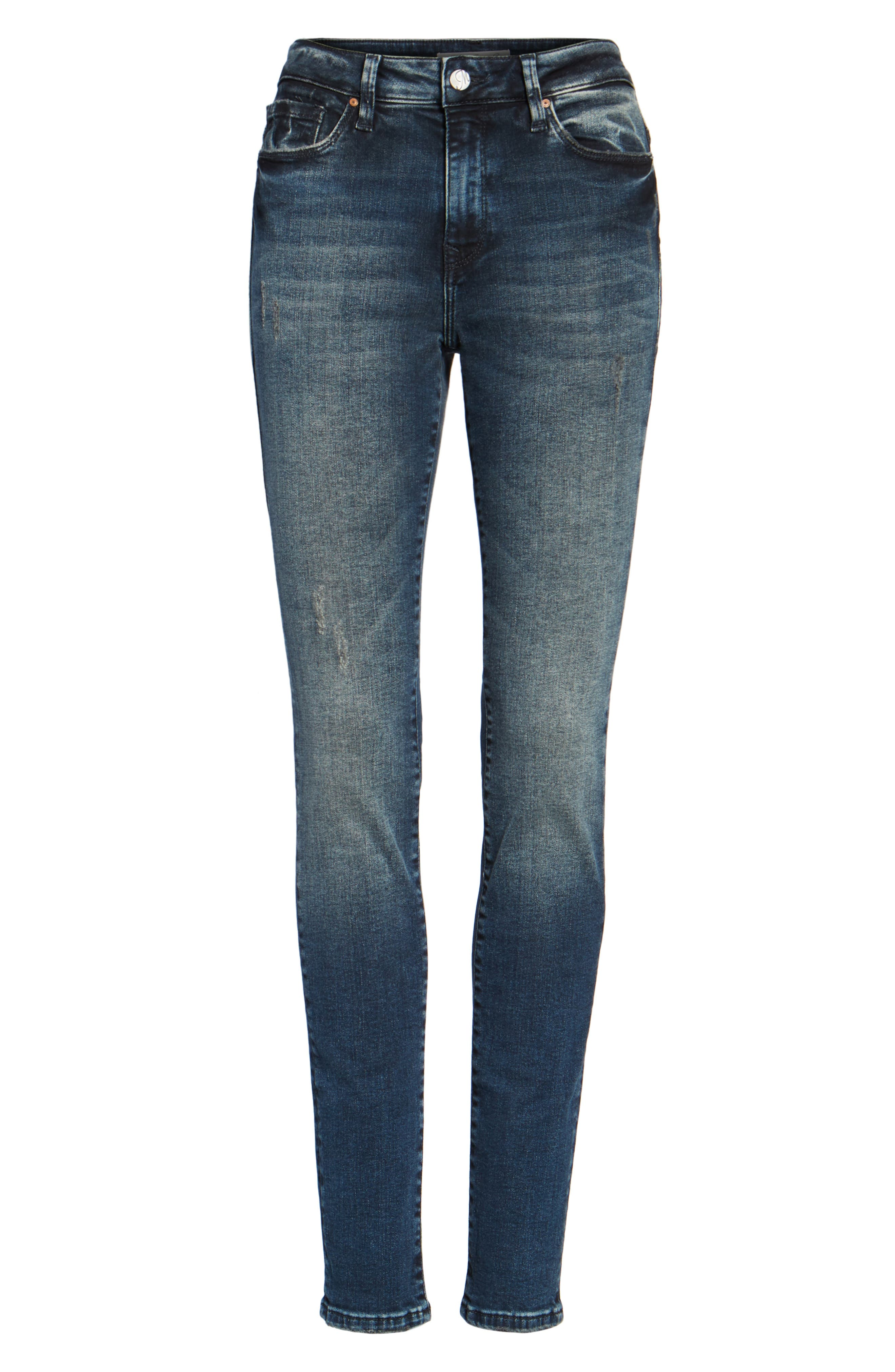 Stretch Slim High Rise Ankle Jeans,                             Alternate thumbnail 6, color,                             401