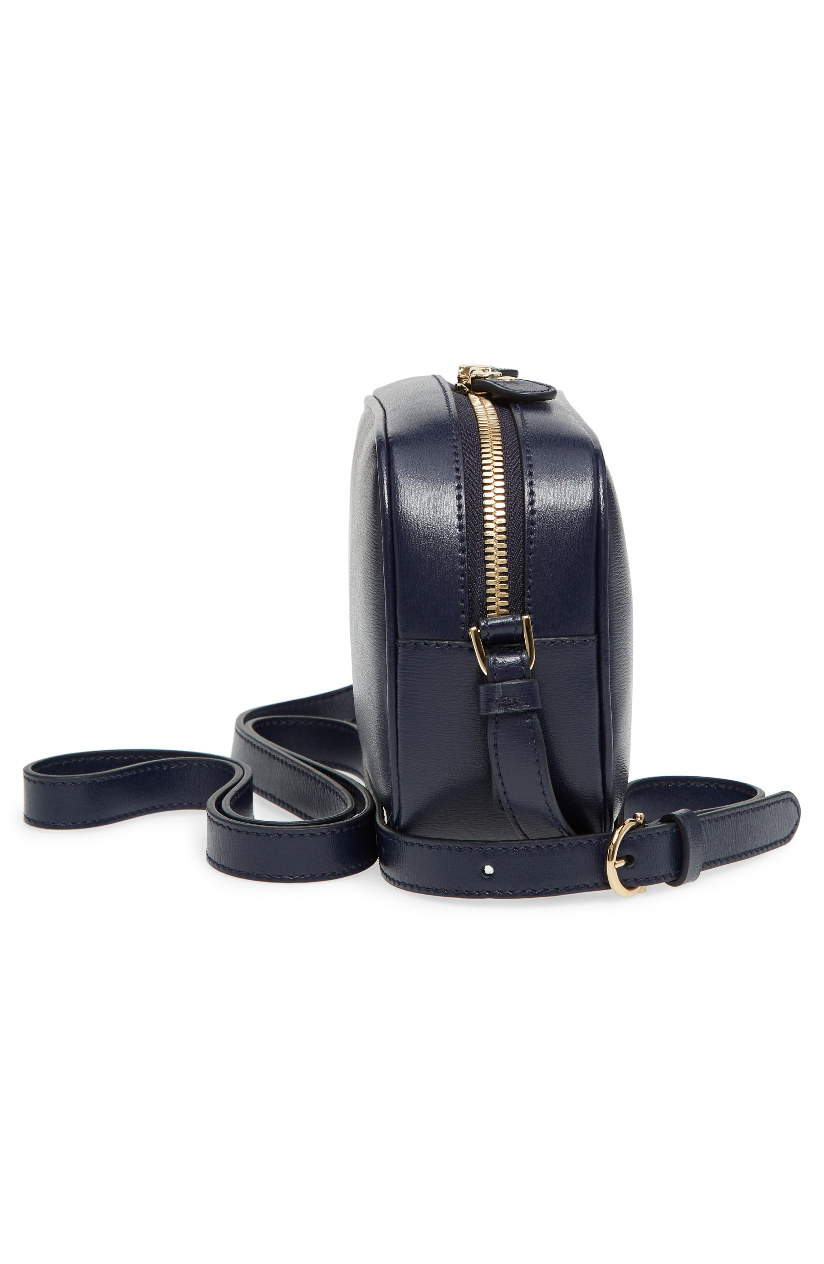 Gancio Metallic Leather Camera Bag,                             Alternate thumbnail 5, color,                             NAVY