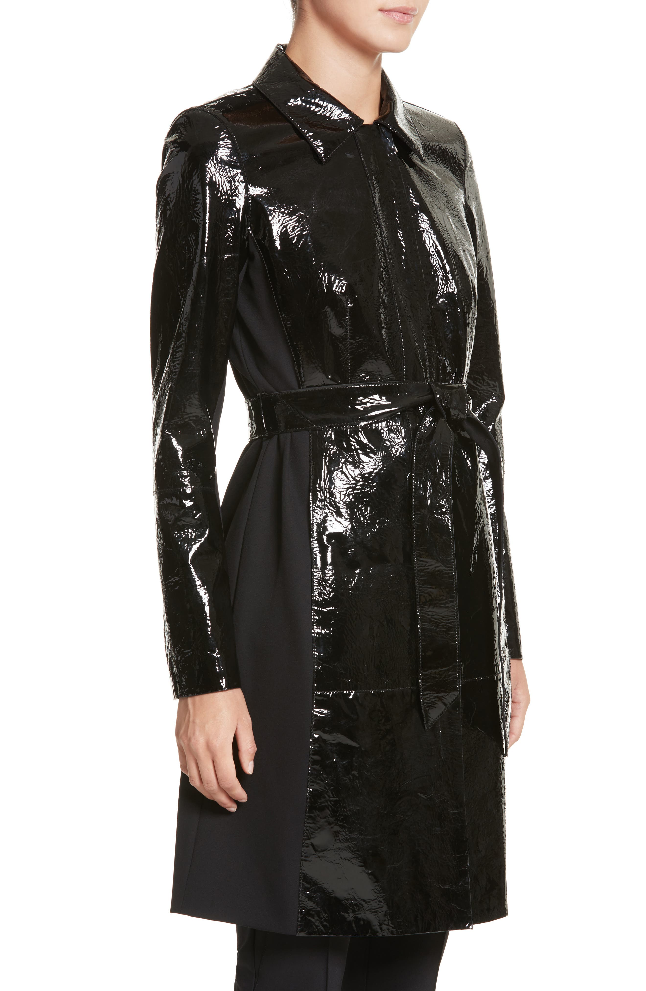 Paola Tech Combo Patent Leather Trench Coat,                             Alternate thumbnail 4, color,