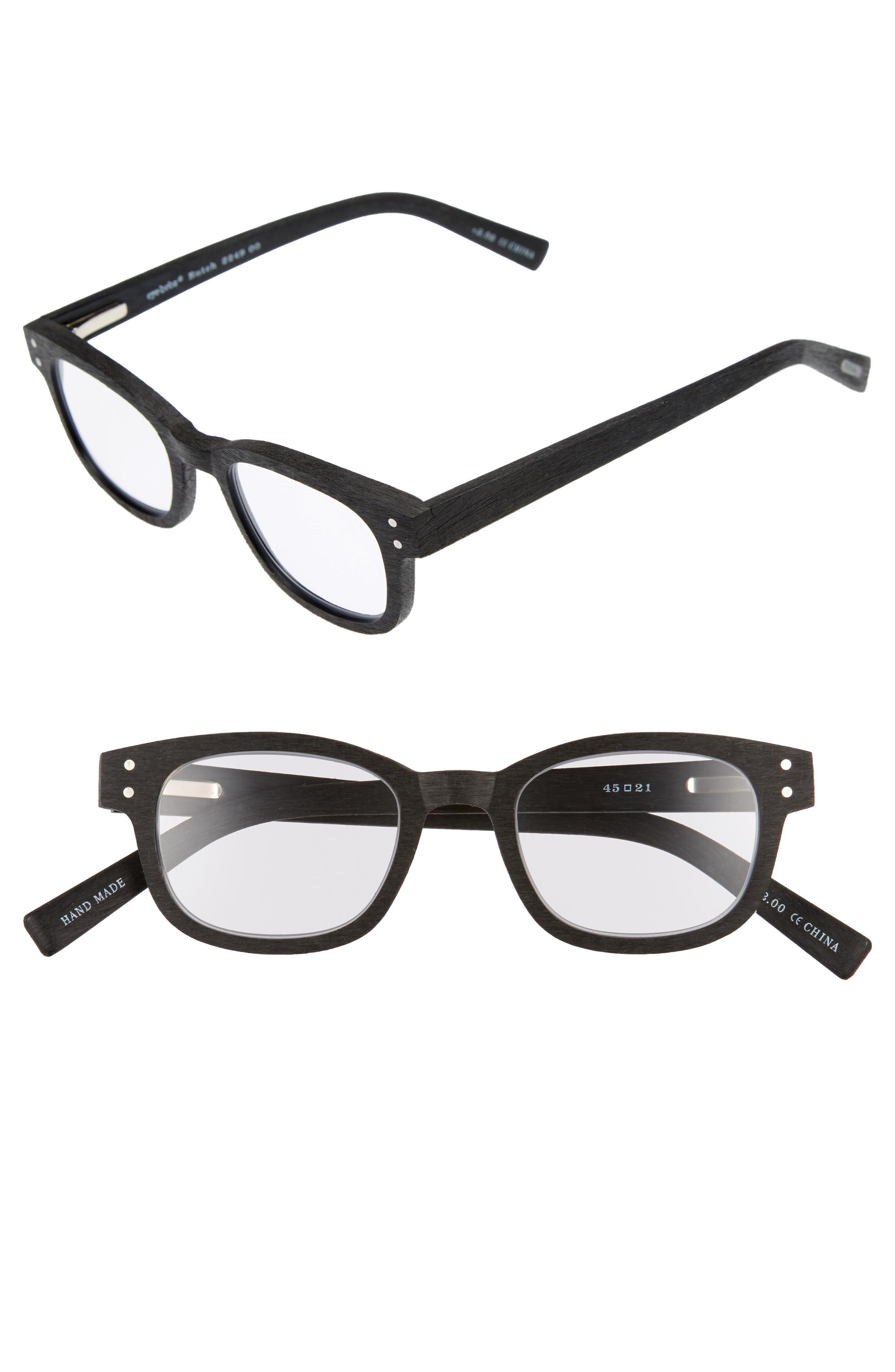 Butch 45mm Reading Glasses,                             Main thumbnail 1, color,                             MATTE BLACK WOODGRAIN
