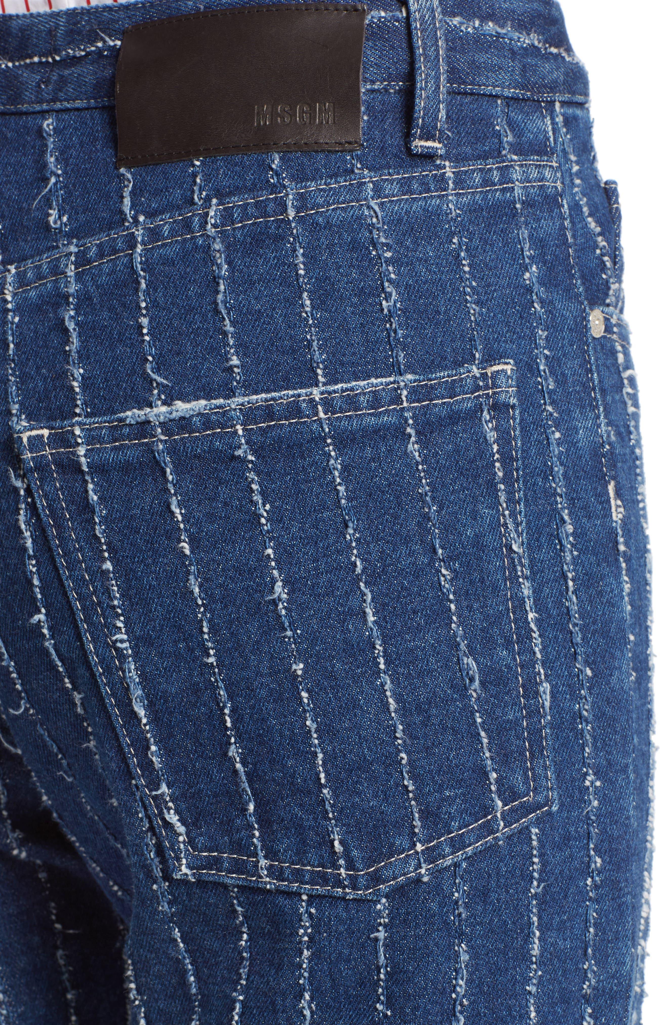 Stripe High Waist Jeans,                             Alternate thumbnail 4, color,                             400