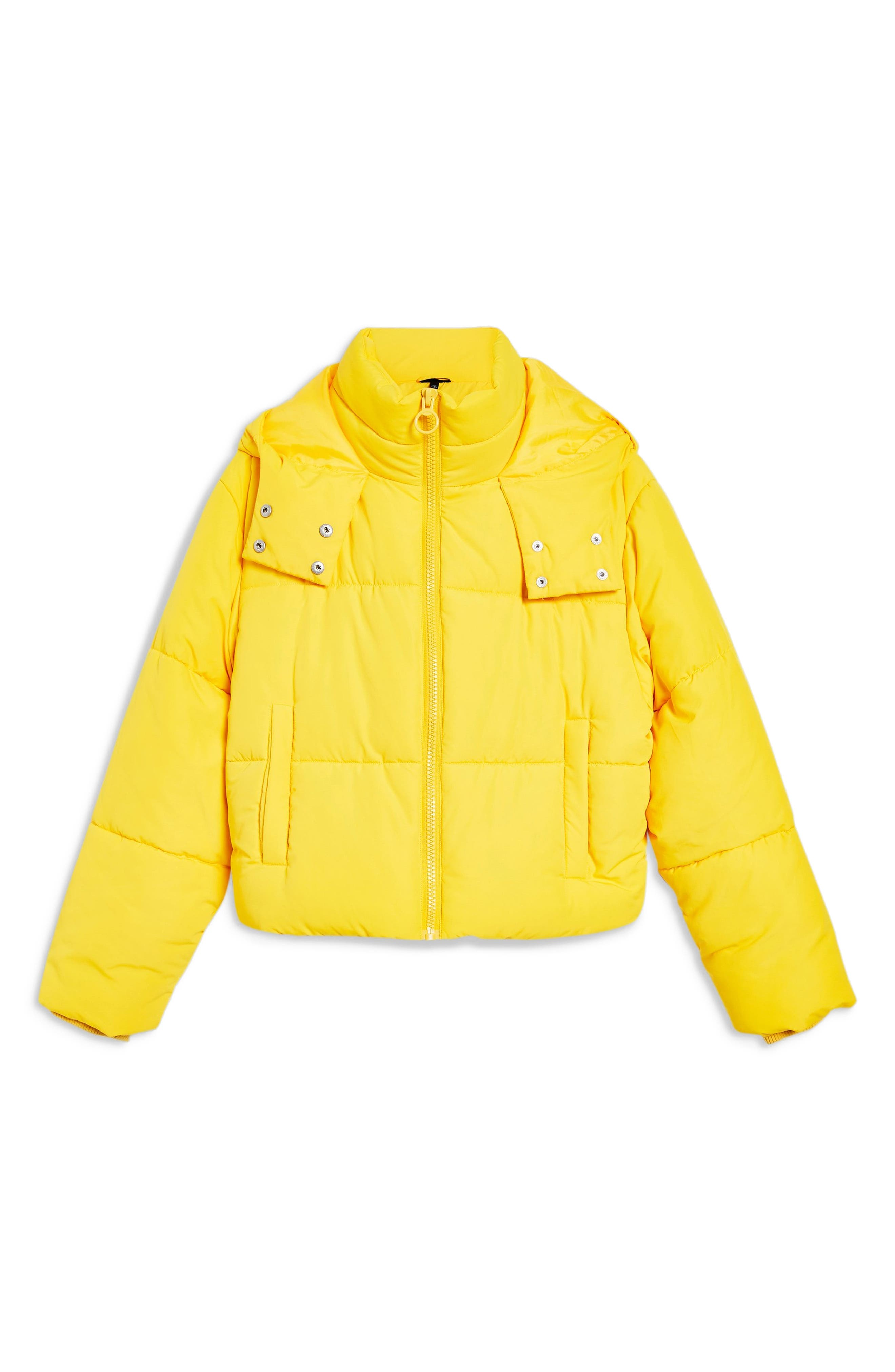 Hooded Puffer Jacket,                             Alternate thumbnail 3, color,                             YELLOW
