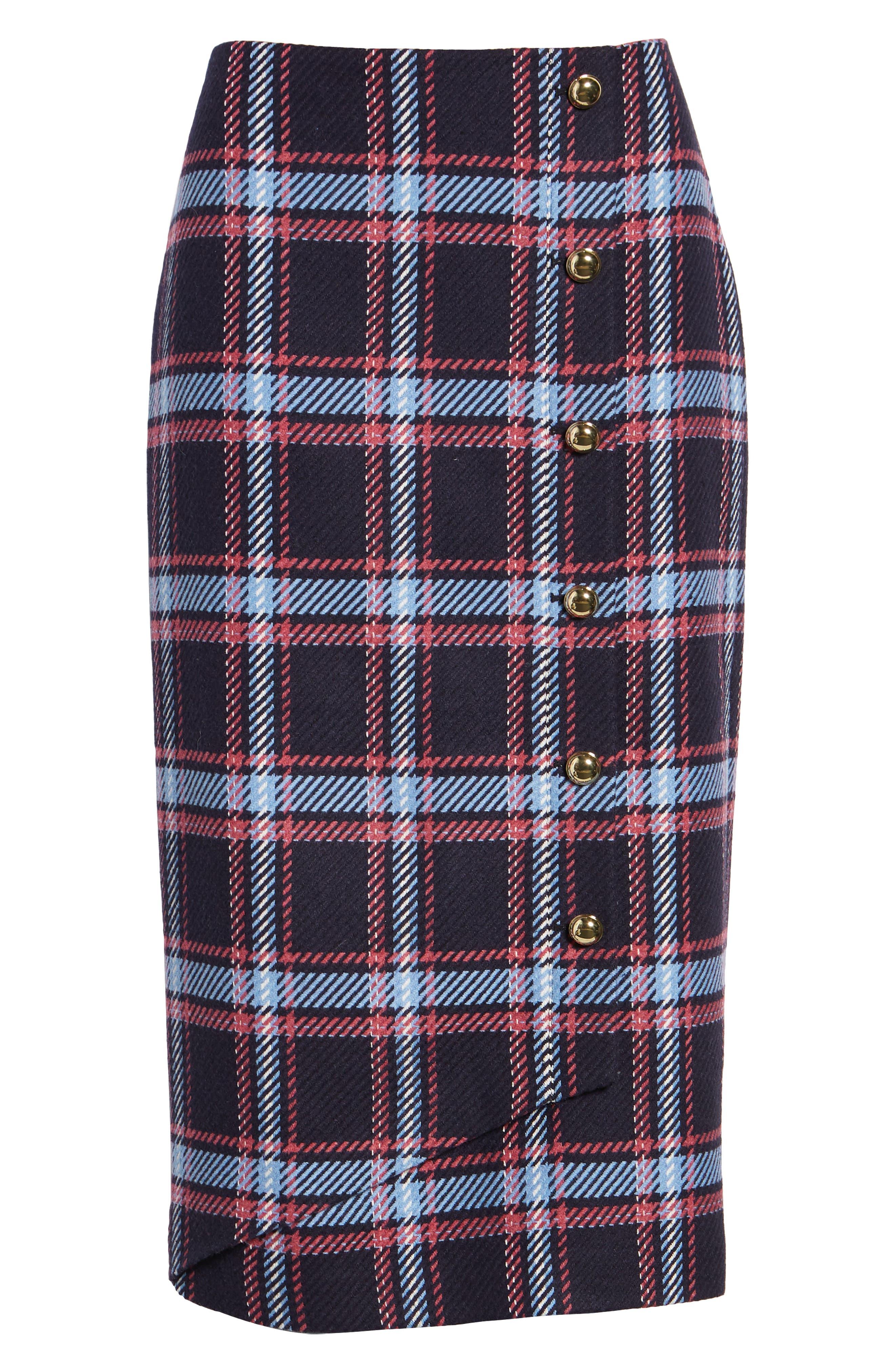 x Atlantic-Pacific Plaid Wrap Pencil Skirt,                             Alternate thumbnail 6, color,                             NAVY PLAID