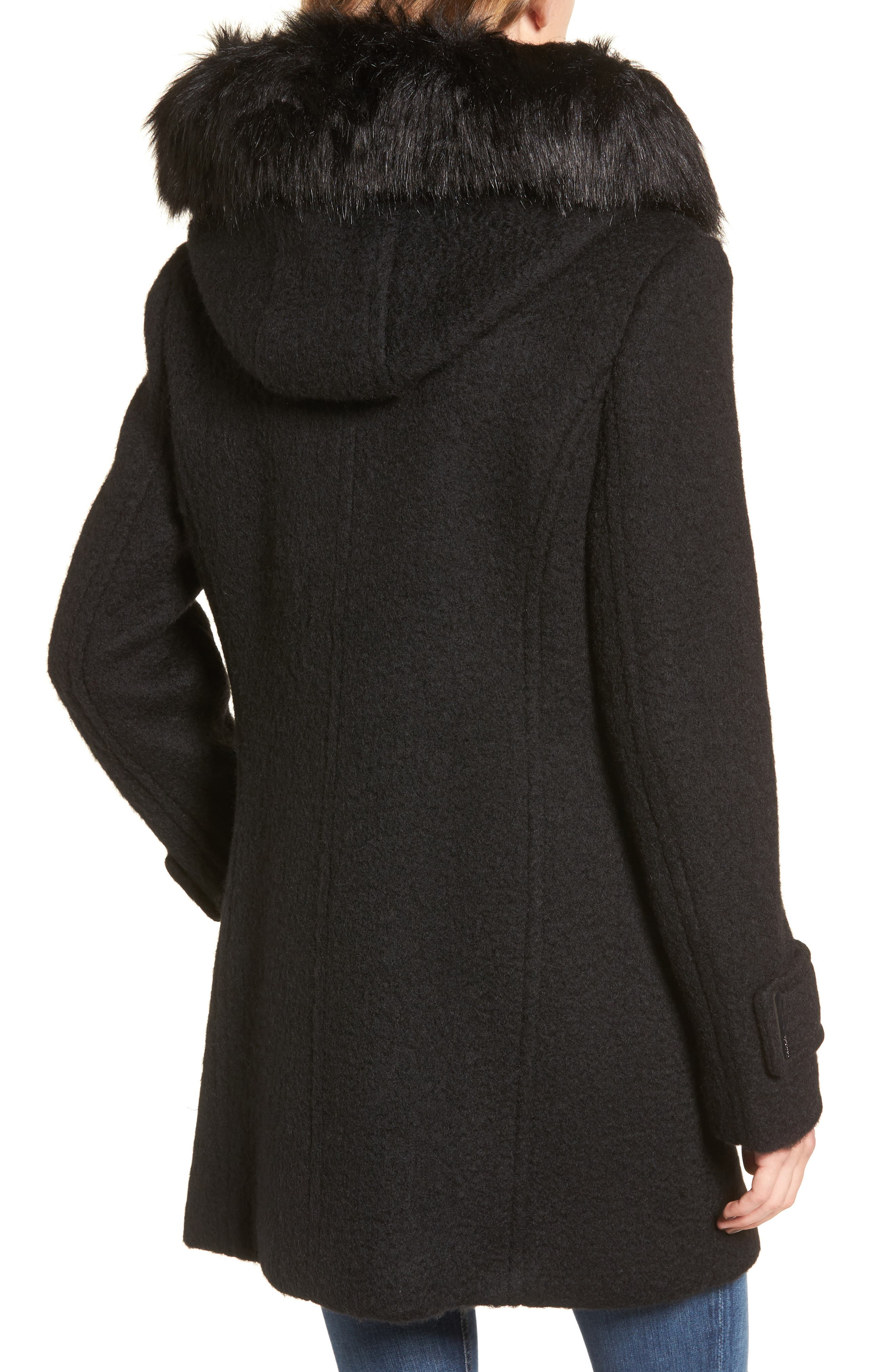 Hooded Wool Blend Jacket with Faux Fur Trim,                             Alternate thumbnail 4, color,