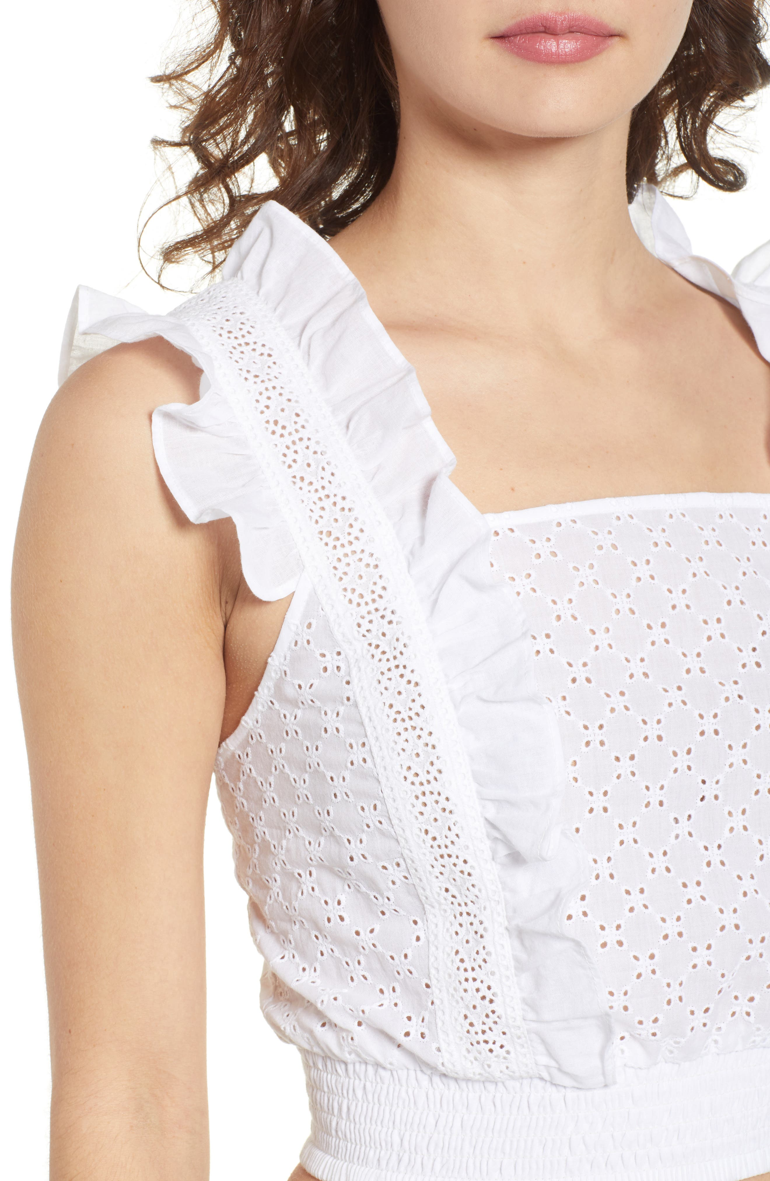 Ruffle Eyelet Crop Top,                             Alternate thumbnail 4, color,                             100