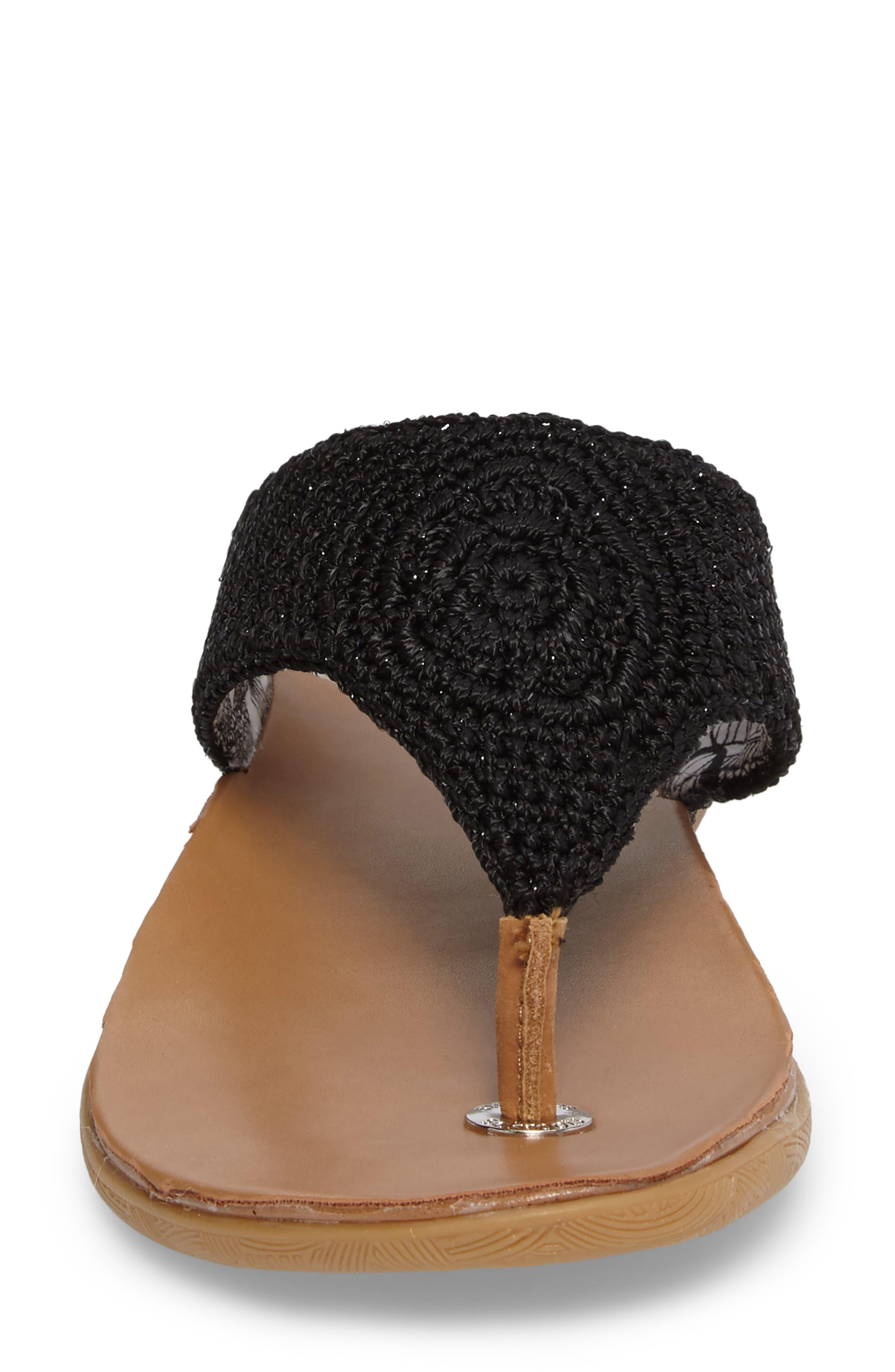 Sarria Flip Flop,                             Alternate thumbnail 4, color,                             BLACK SPARKLE FABRIC