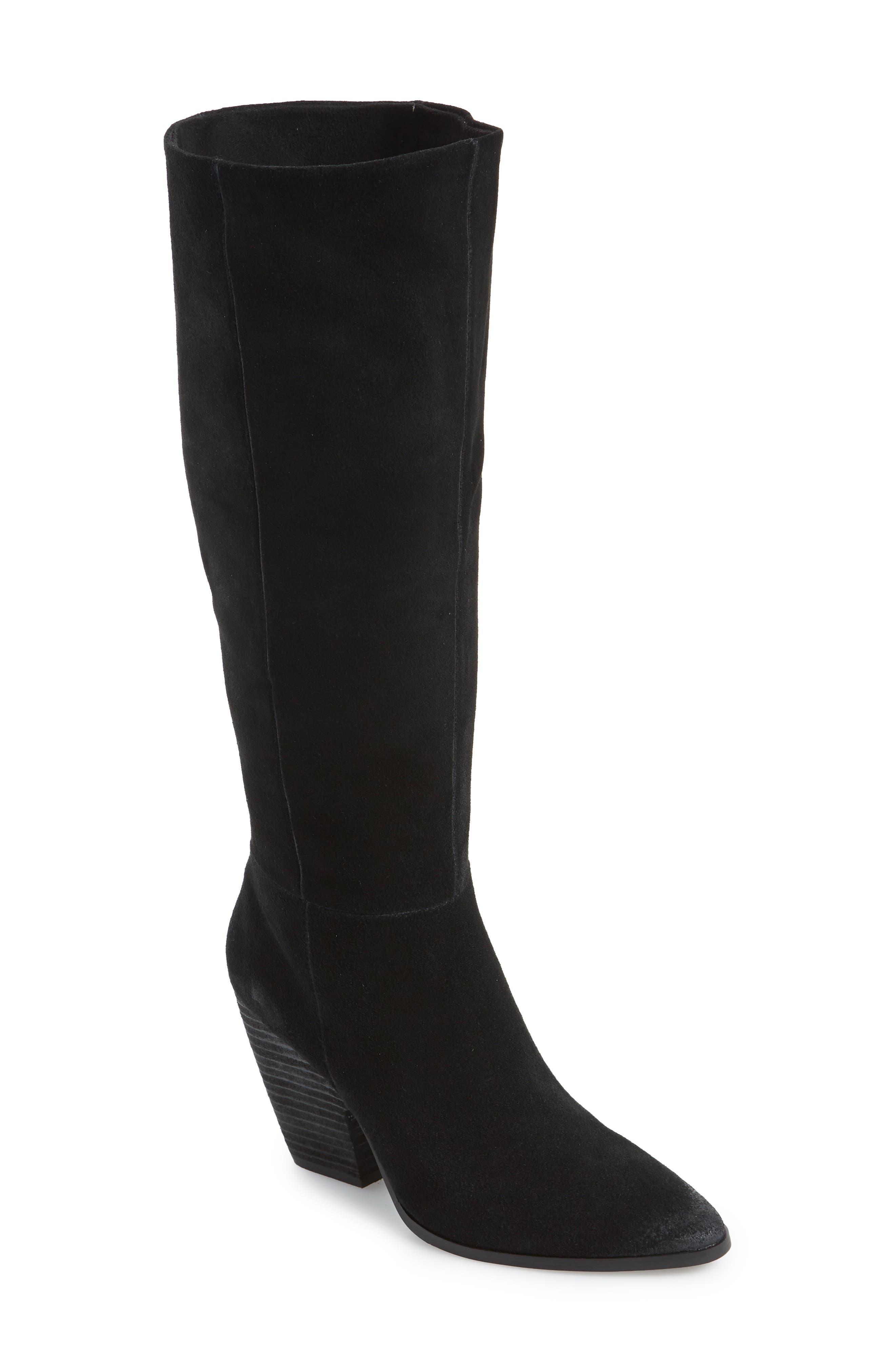 Nyles Knee High Boot,                             Main thumbnail 1, color,                             BLACK SUEDE