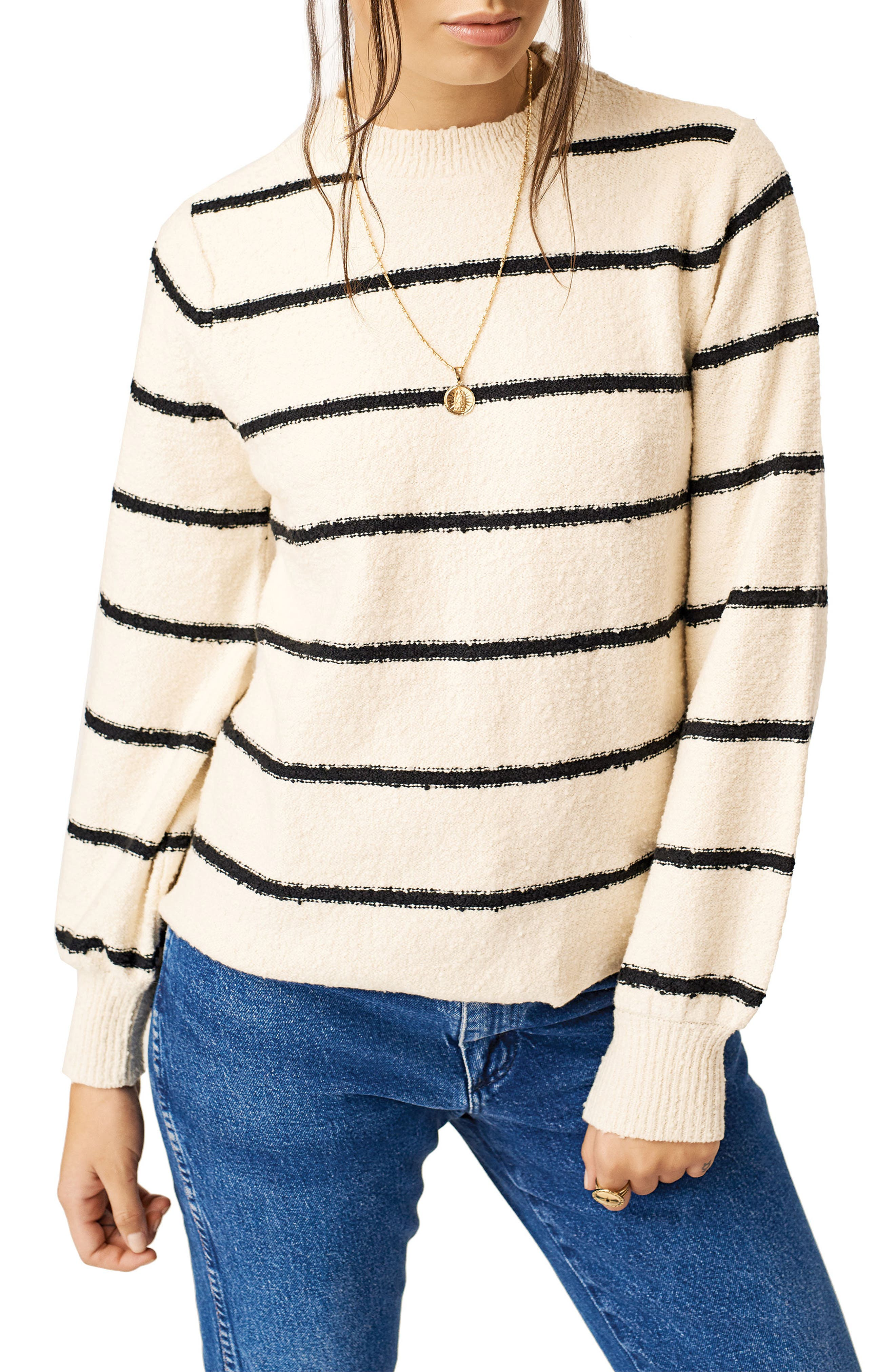 Stone Row Foiled Again Stripe Sweater, White