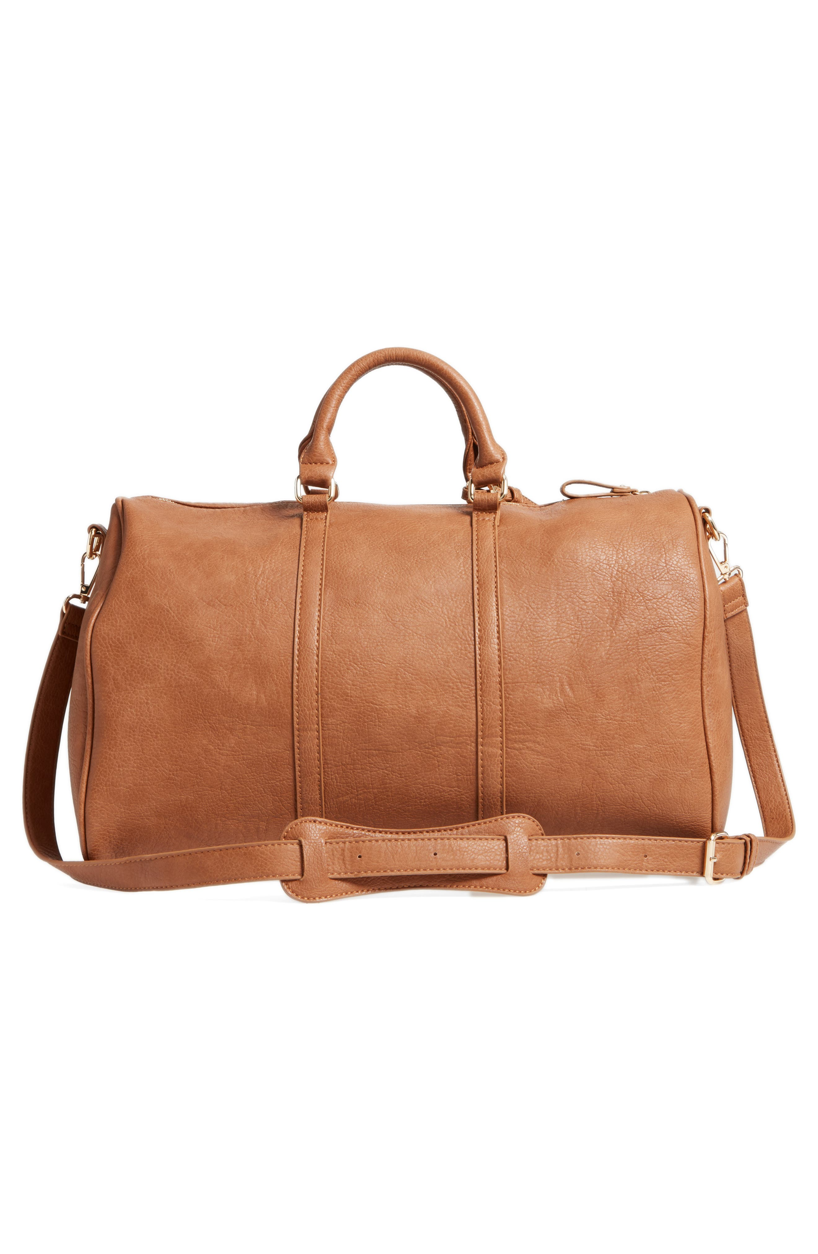 'Cassidy' Faux Leather Duffel Bag,                             Alternate thumbnail 3, color,                             COGNAC