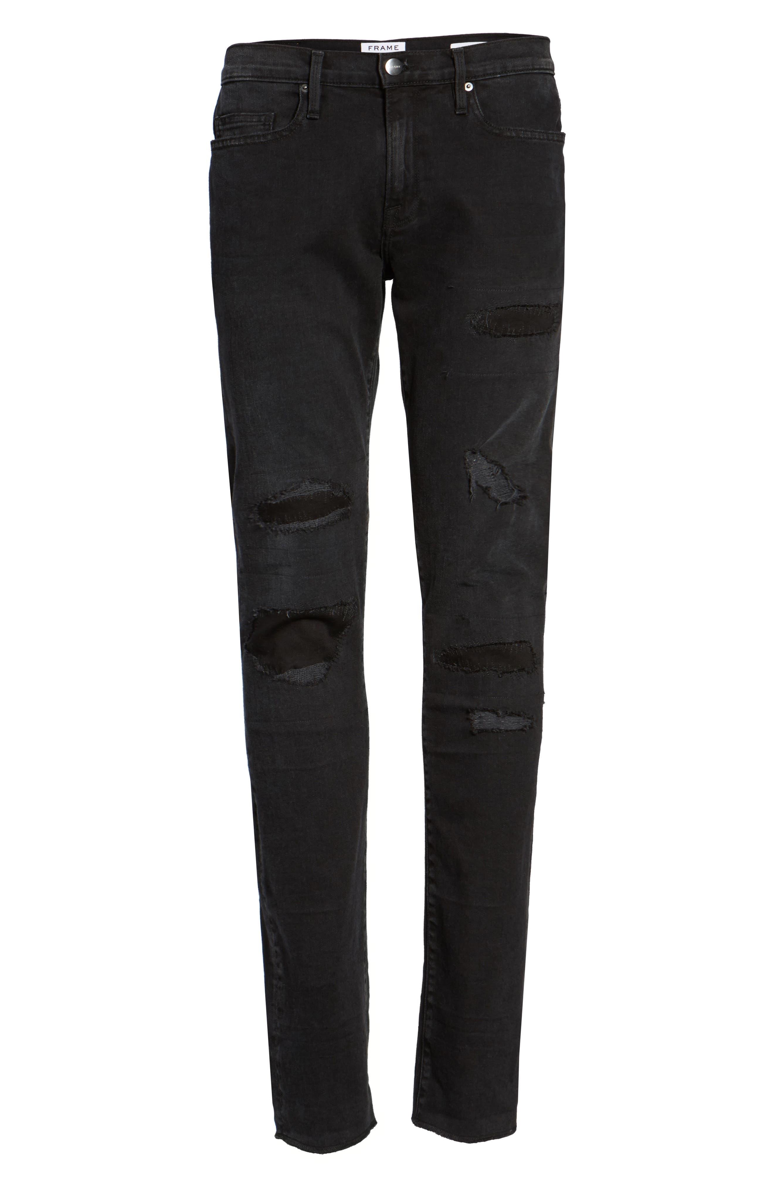 L'Homme Skinny Fit Jeans,                             Alternate thumbnail 6, color,                             001