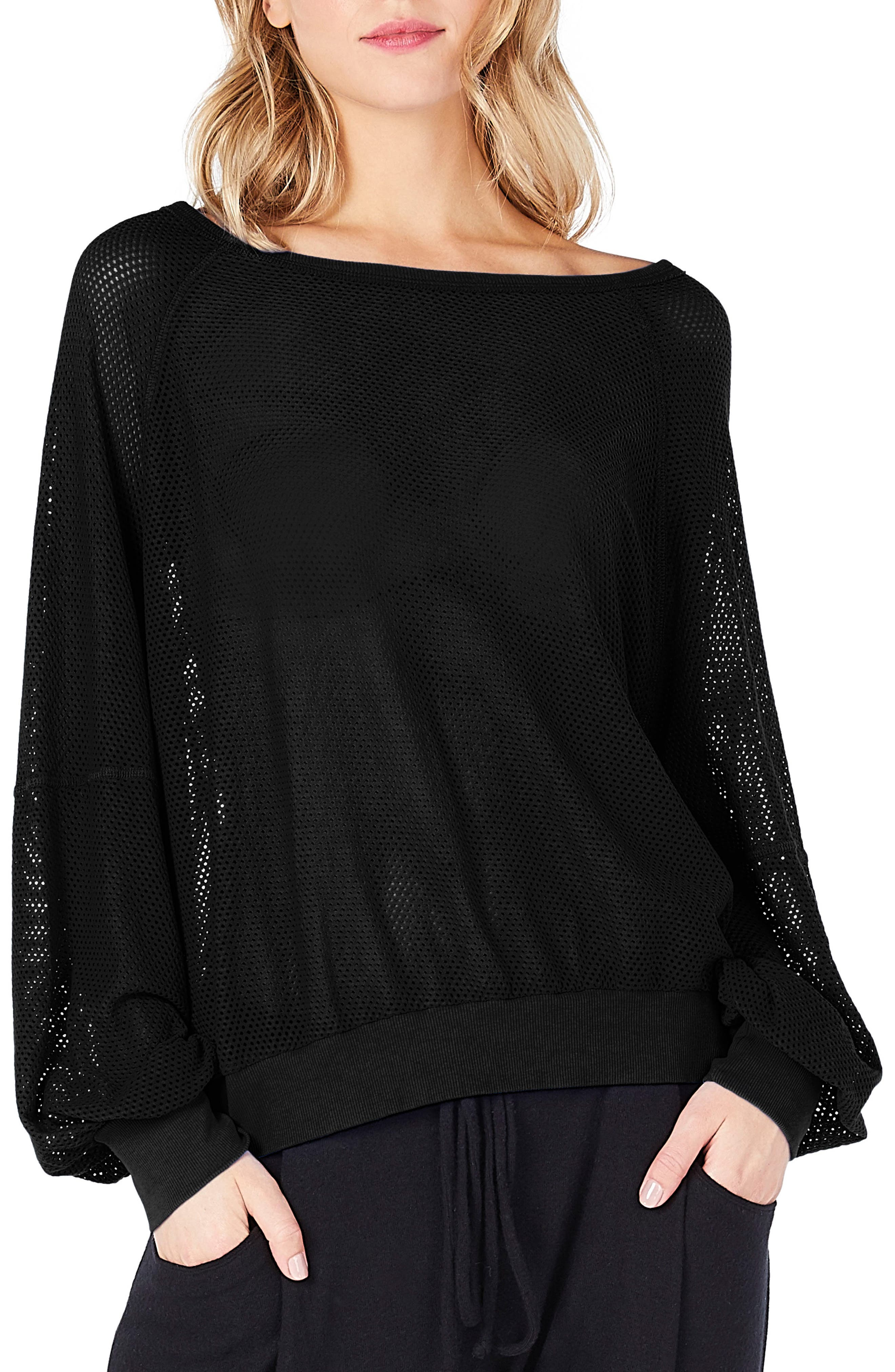 Open Stitch Sweatshirt,                         Main,                         color, 001
