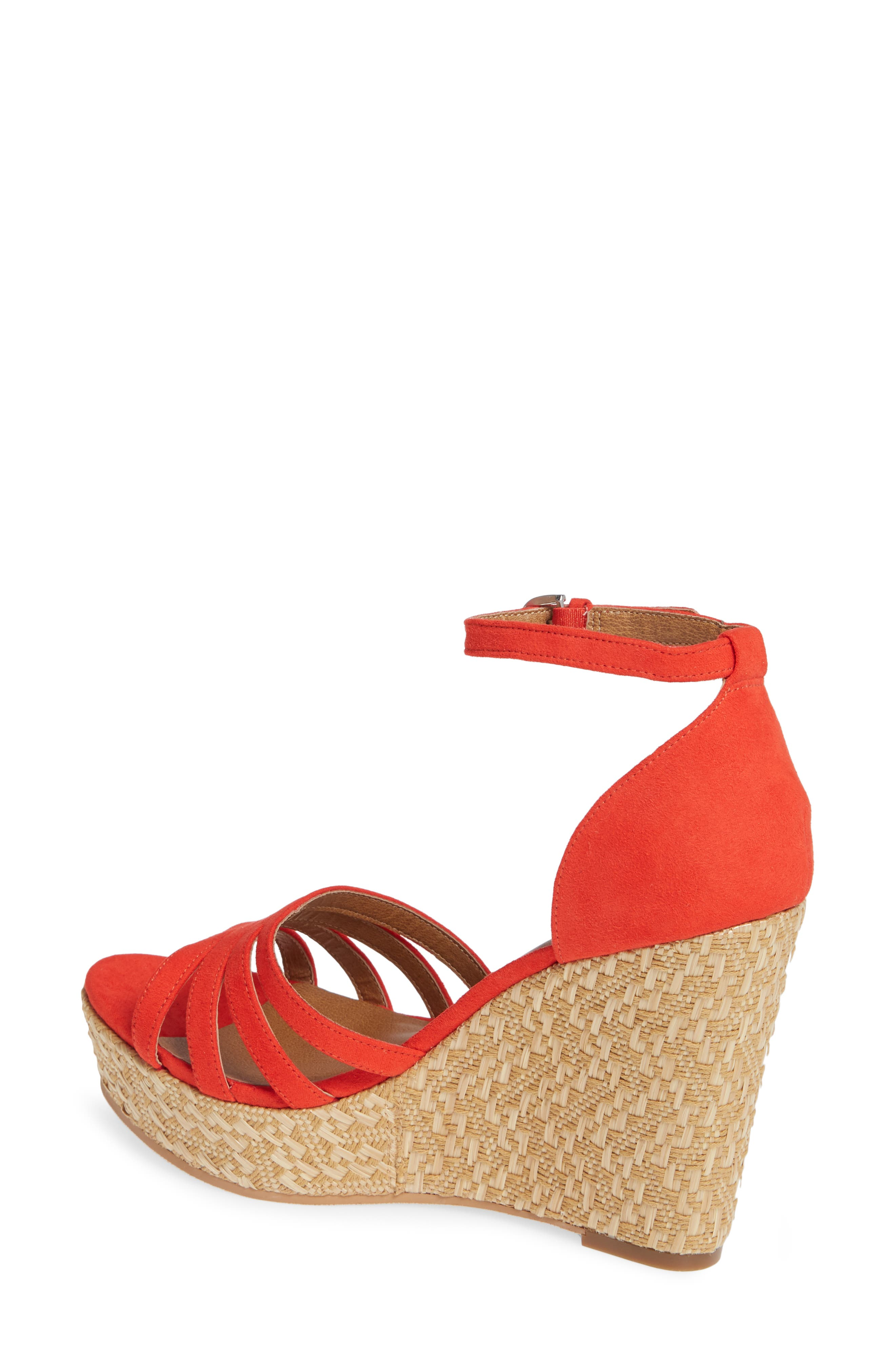 Scarlette Wedge Sandal,                             Alternate thumbnail 2, color,                             RED FAUX SUEDE