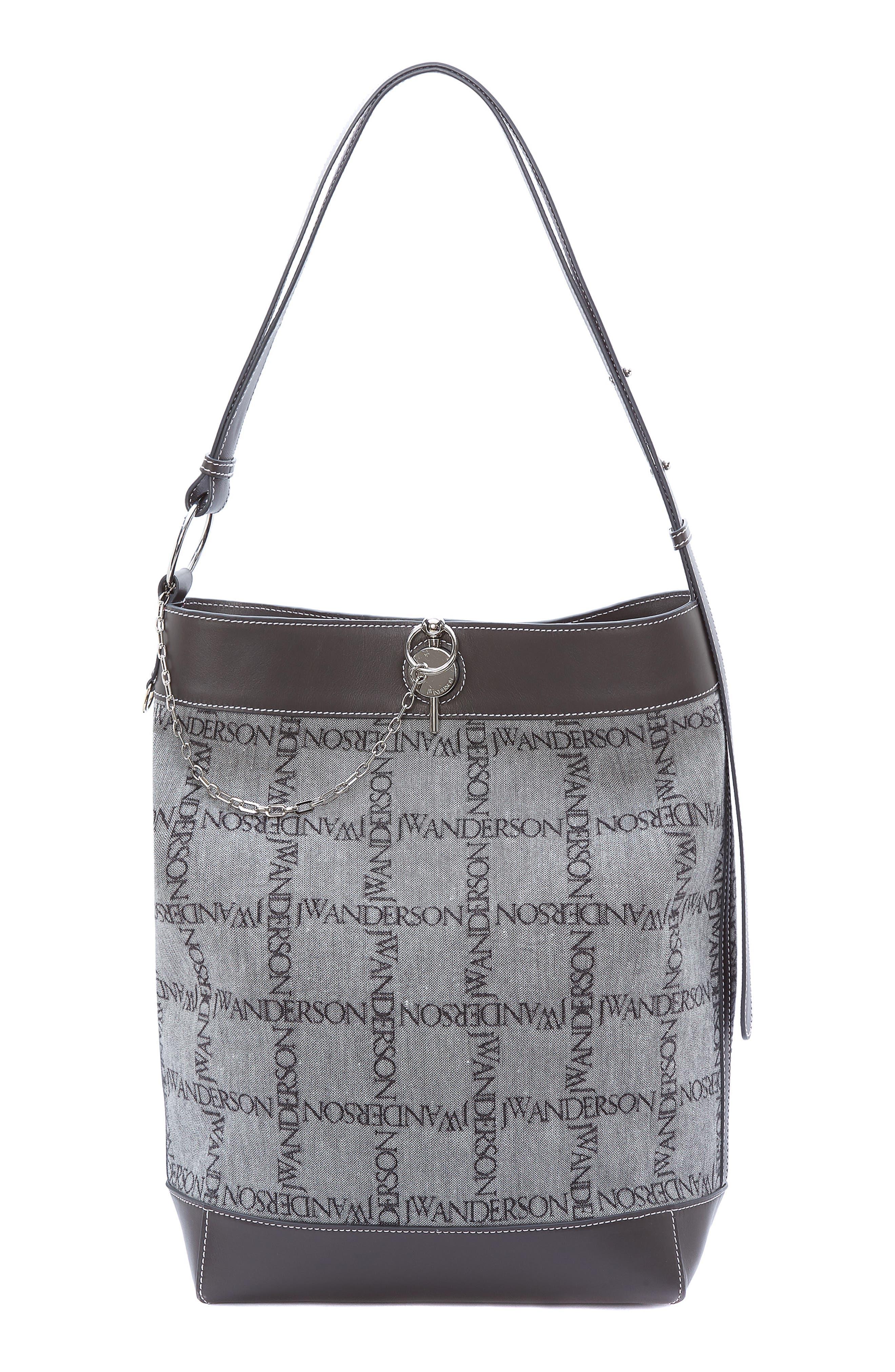JW ANDERSON Lock Canvas Bucket Bag, Main, color, BLACK GRID LOGO
