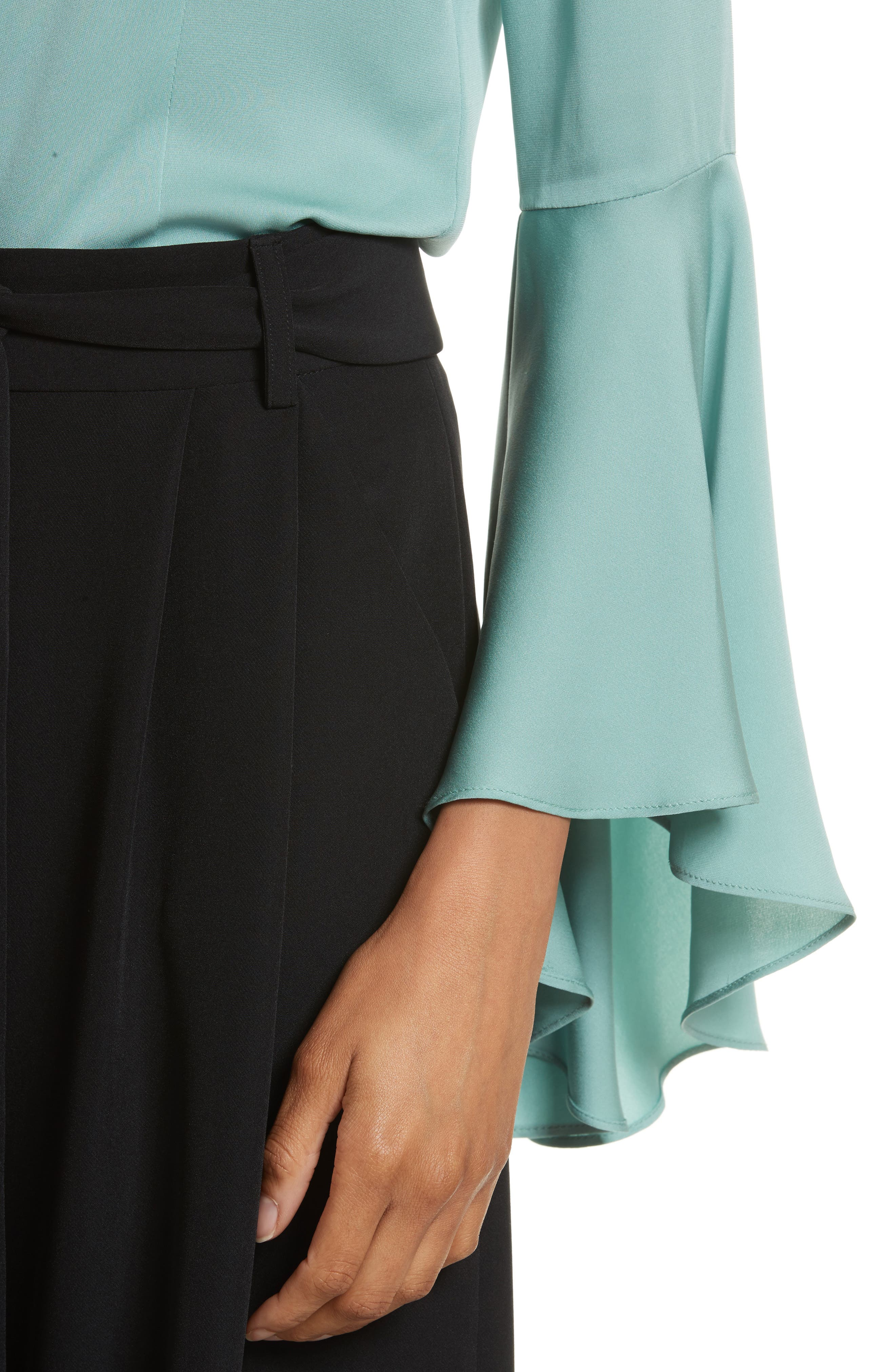 Michelle Bell Sleeve Stretch Silk Blouse,                             Alternate thumbnail 4, color,                             419