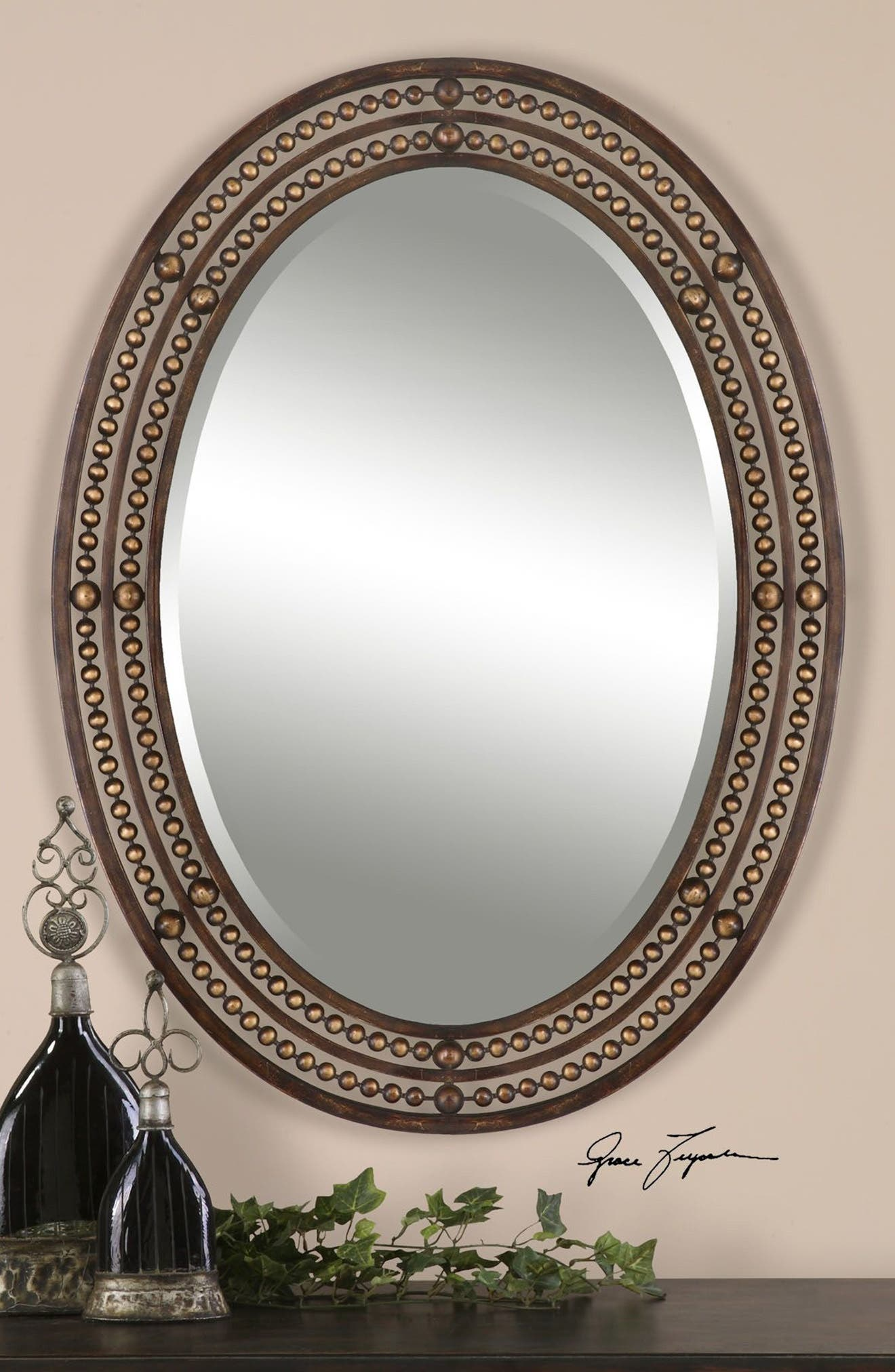 'Matney' Distressed Bronze Oval Wall Mirror,                             Alternate thumbnail 3, color,                             200