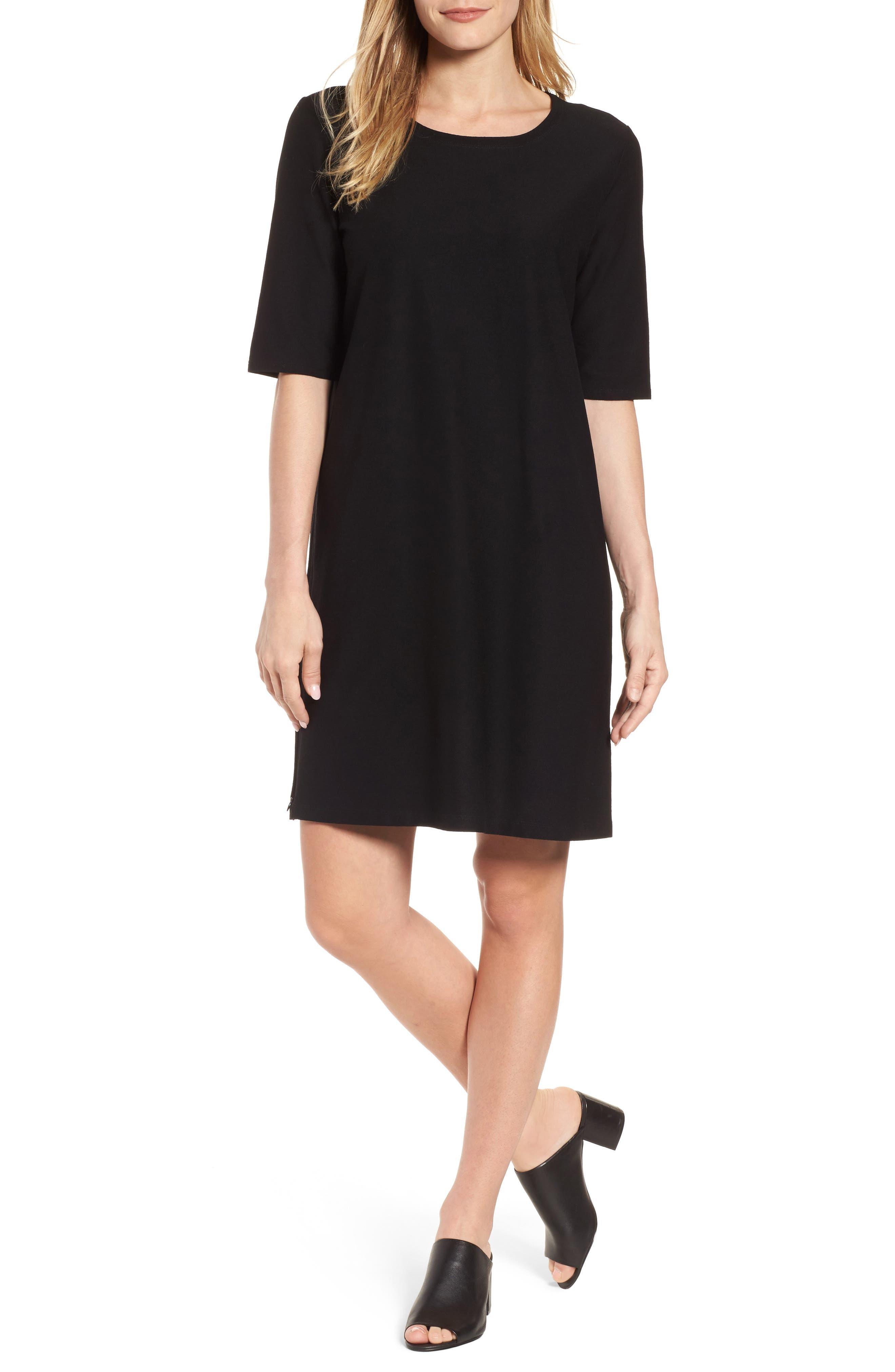 Stretch Knit Shift Dress,                         Main,                         color, 001