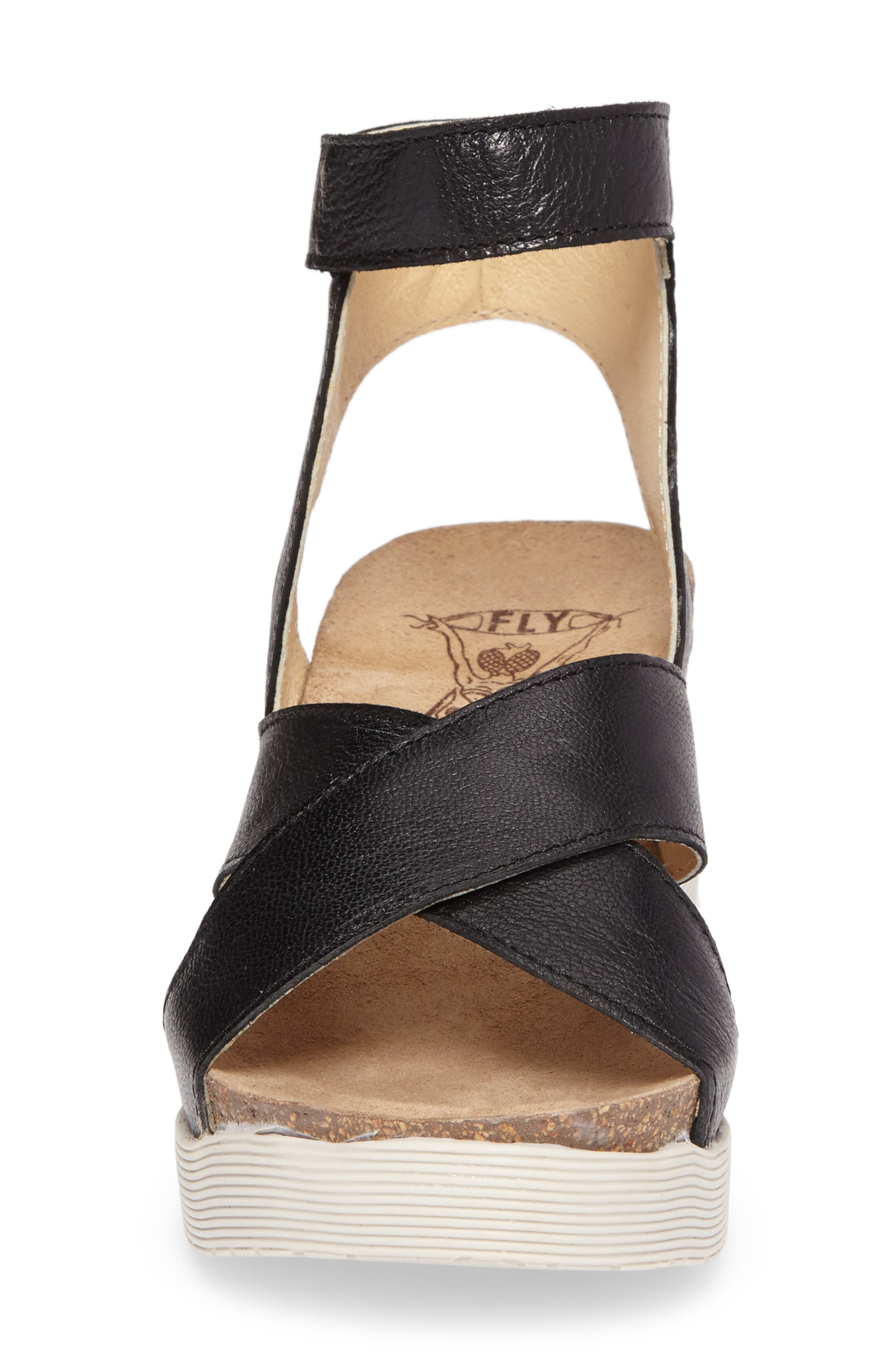 Weel Nubuck Leather Platform Sandal,                             Alternate thumbnail 4, color,                             BLACK MOUSSE LEATHER