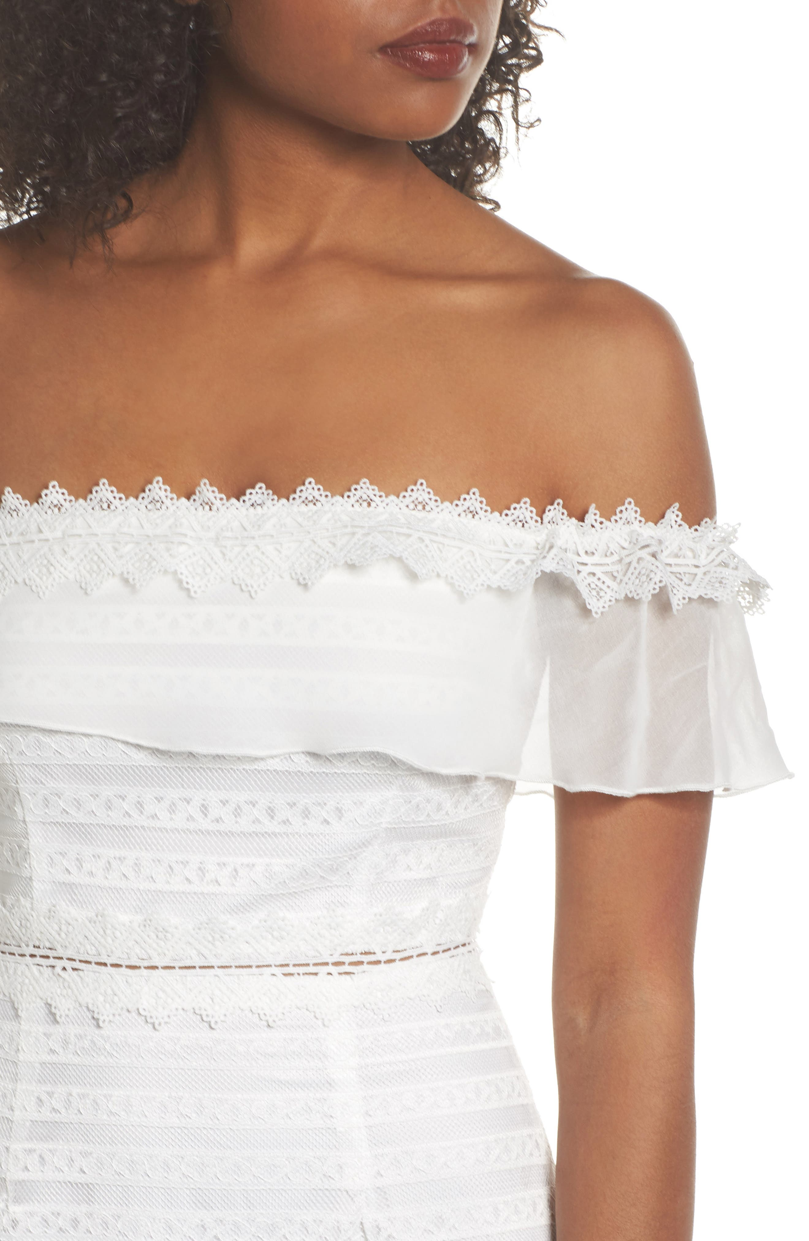 Lucy Off the Shoulder Stripe Lace Dress,                             Alternate thumbnail 4, color,                             OFF WHITE