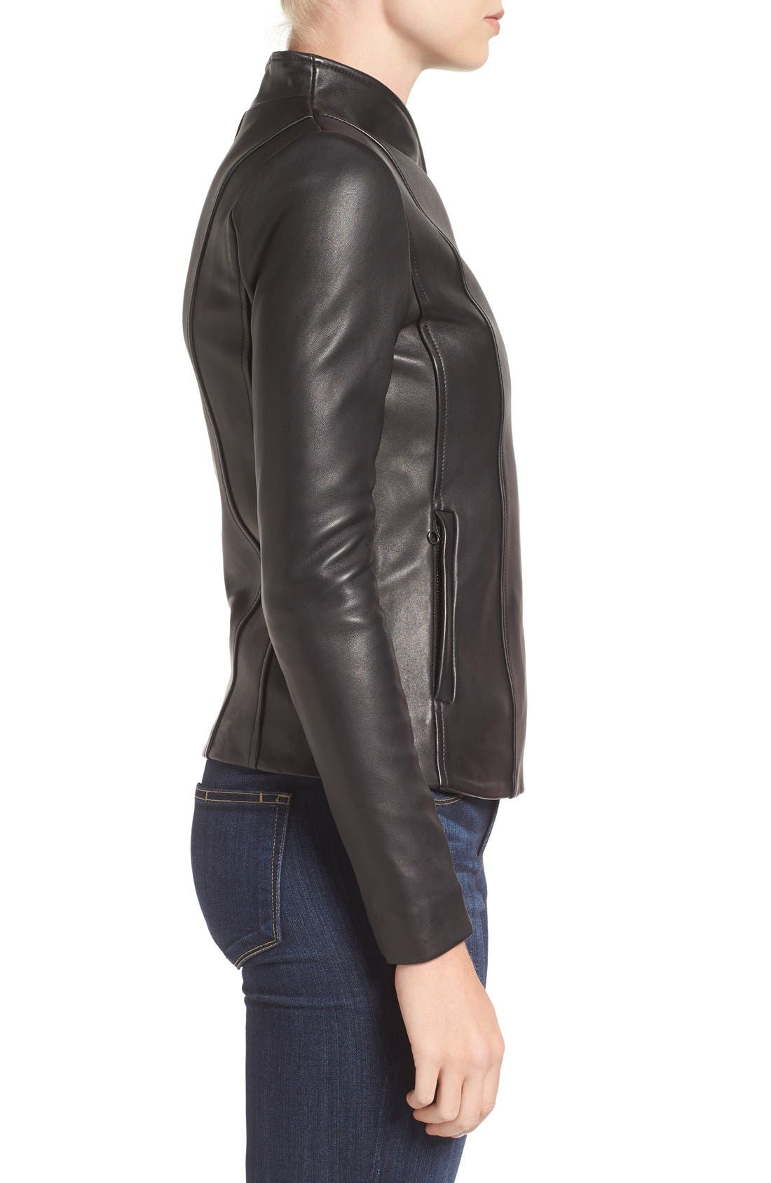 MACKAGE,                             Leather Jacket,                             Alternate thumbnail 3, color,                             001