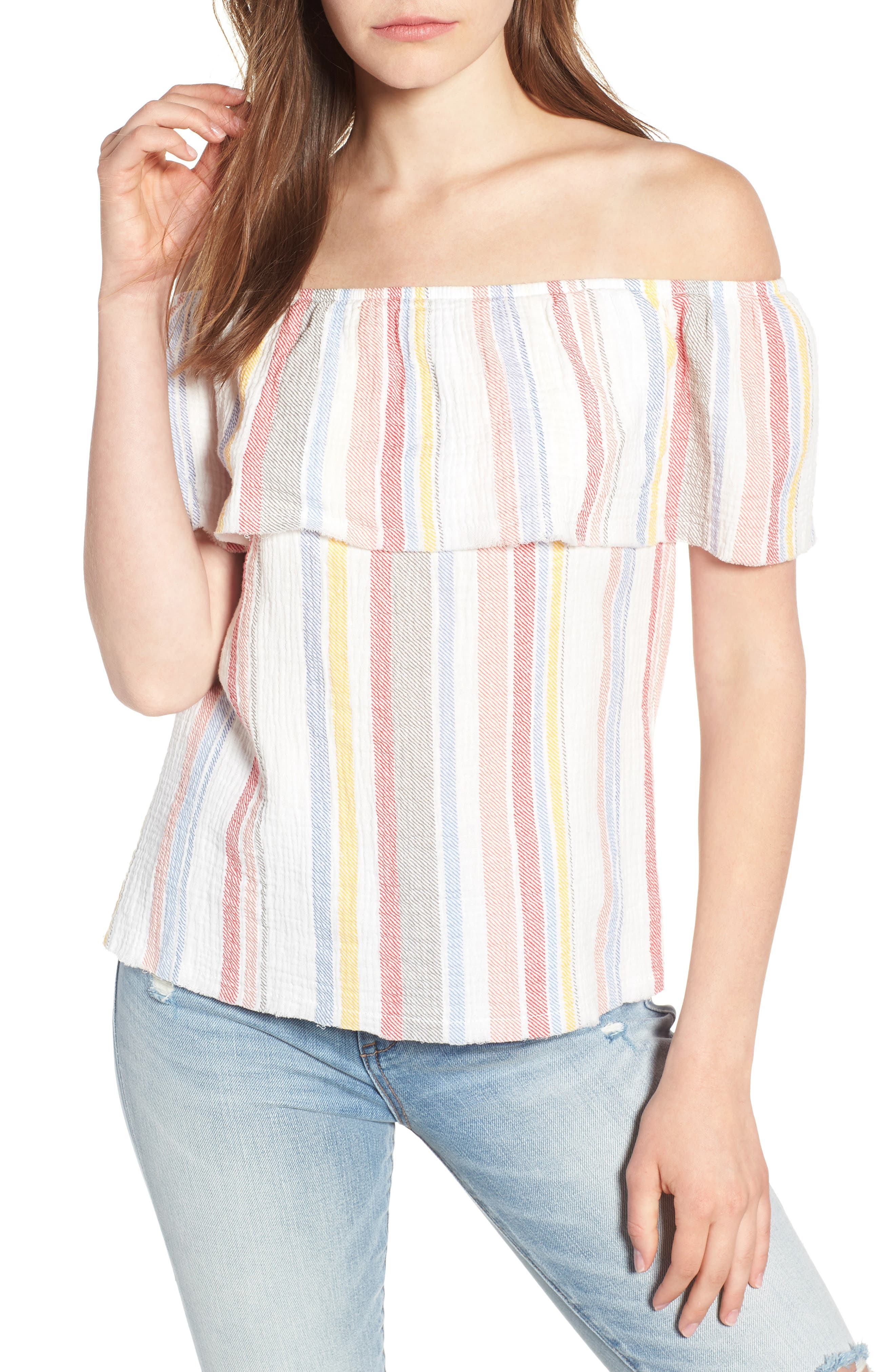 Ruffle Off the Shoulder Top,                         Main,                         color, 100