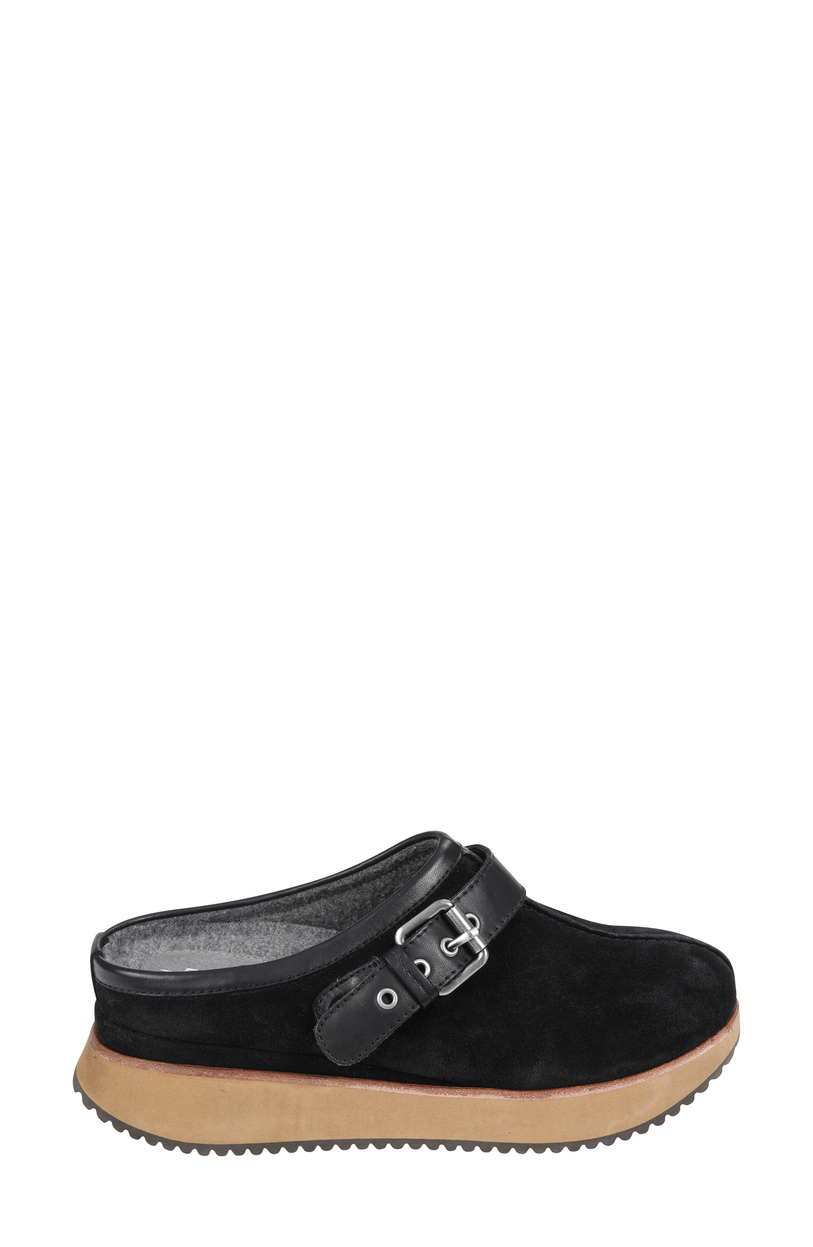 Lyra Buckle Clog,                             Alternate thumbnail 3, color,                             BLACK SUEDE