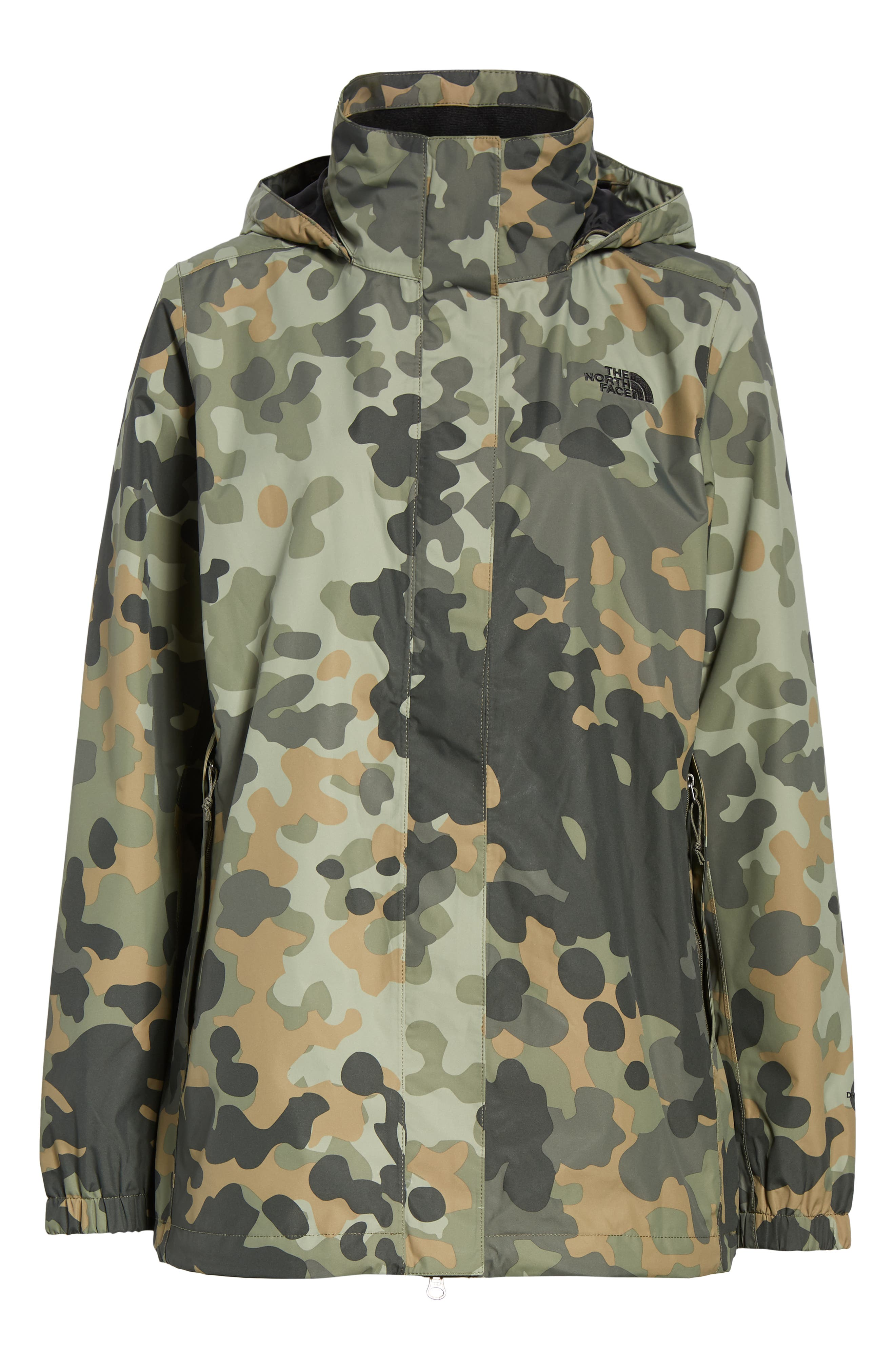 THE NORTH FACE, Resolve Waterproof Parka, Alternate thumbnail 6, color, NEW TAUPE GREEN MACROFLECK