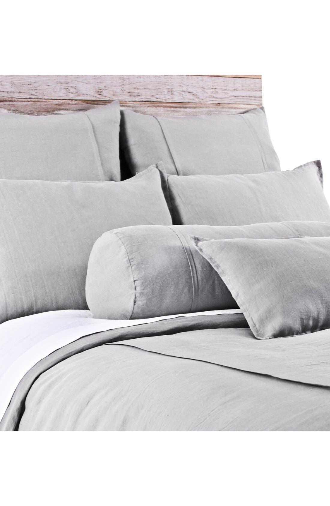 'Louwie' Linen Duvet Cover,                         Main,                         color, SILVER