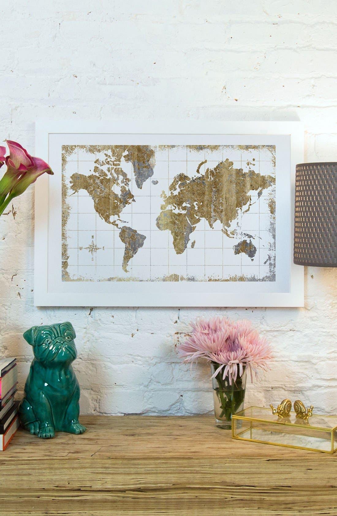 'Gilded Map' Giclée Print Canvas Art,                             Alternate thumbnail 2, color,                             100