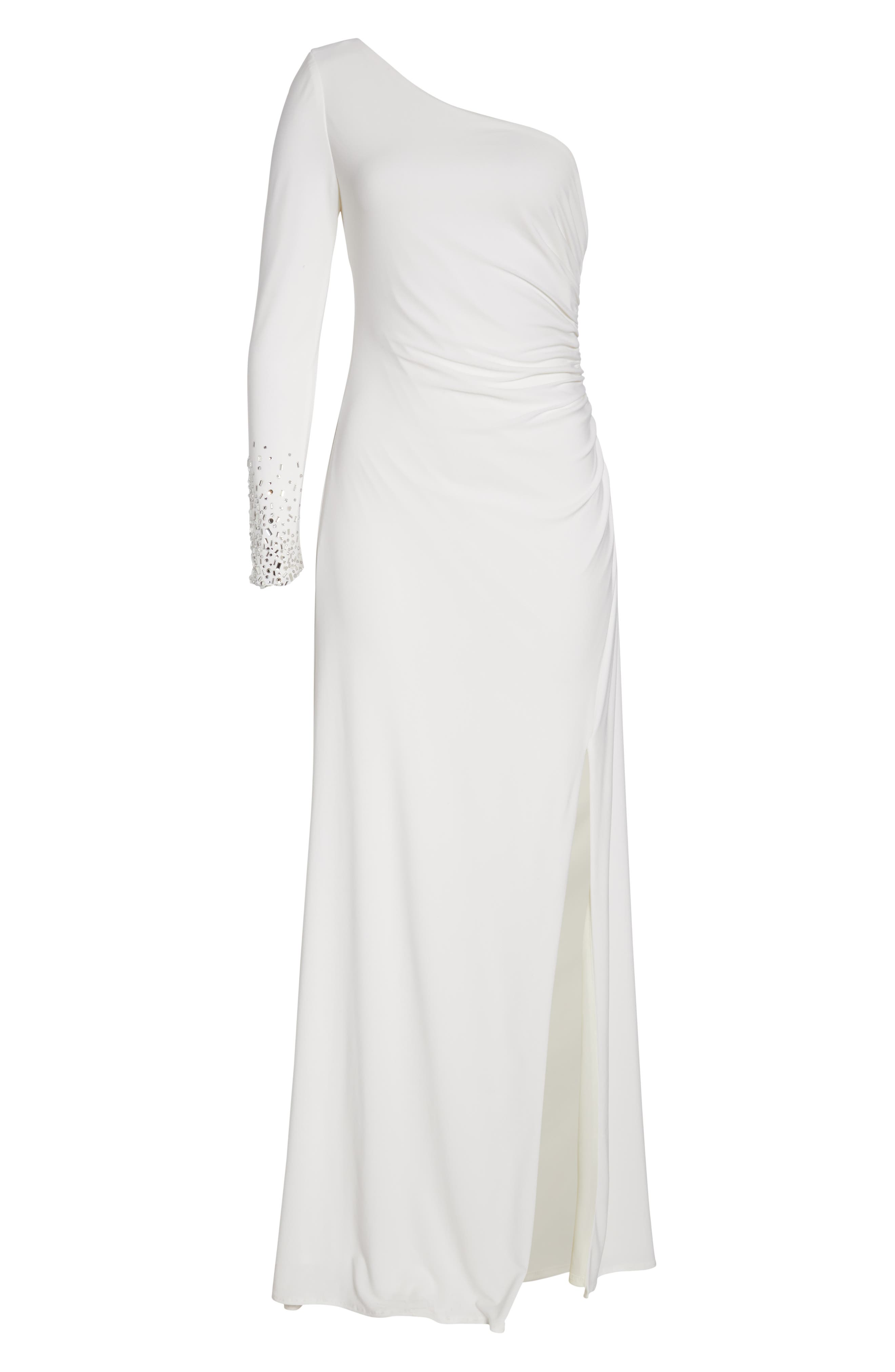 One-Sleeve Side Ruched Evening Dress,                             Alternate thumbnail 7, color,                             IVORY