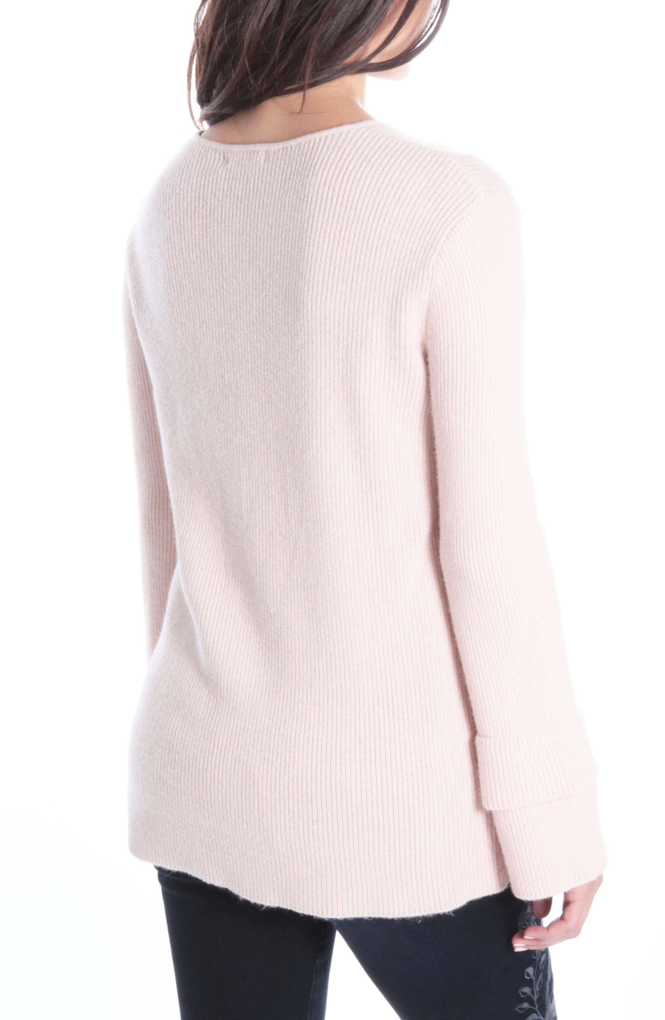 Dariella V-Neck Bell Cuff Sweater,                             Alternate thumbnail 2, color,