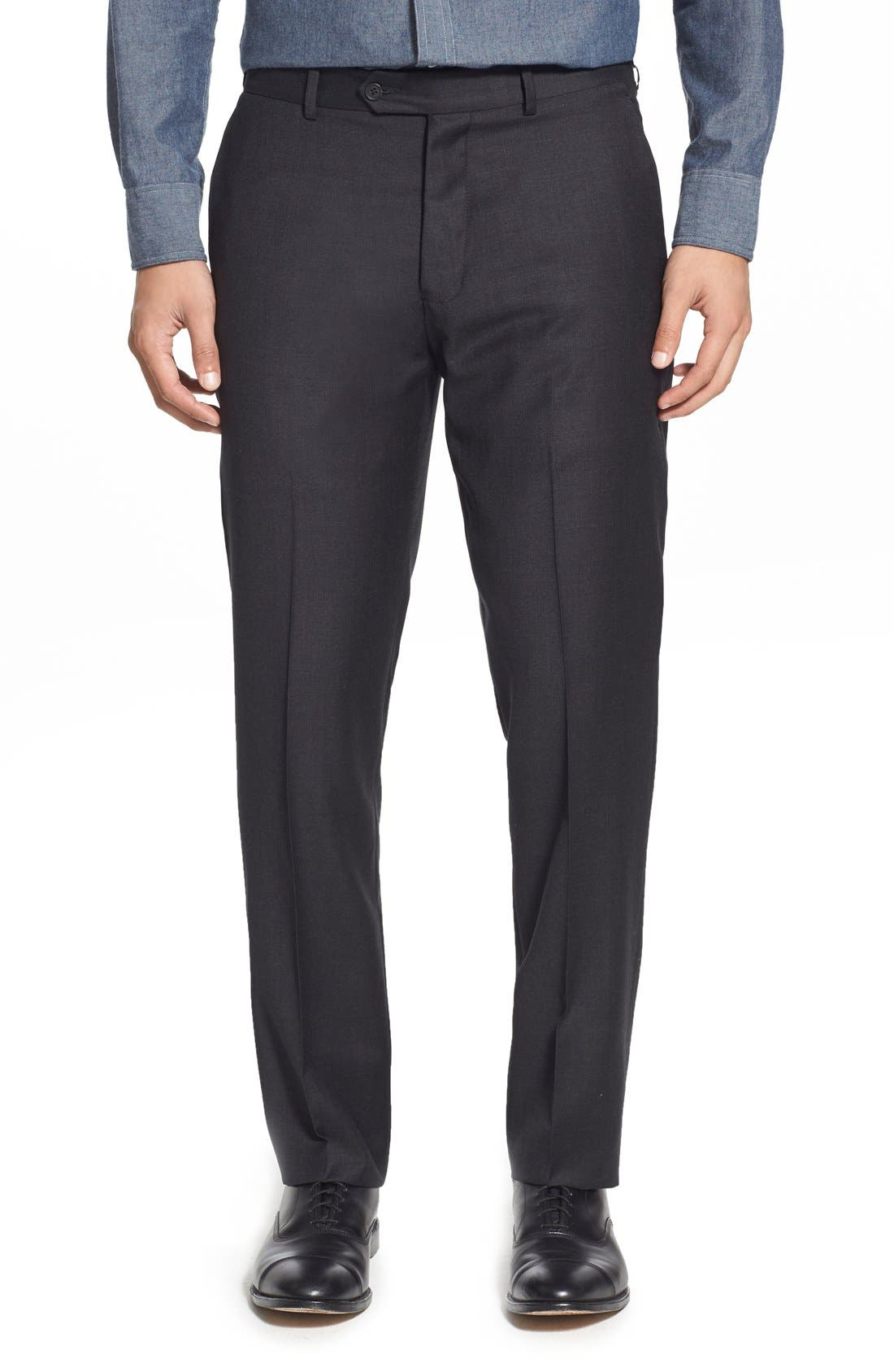 'Dagger' Flat Front Solid Wool Trousers,                             Main thumbnail 1, color,                             020