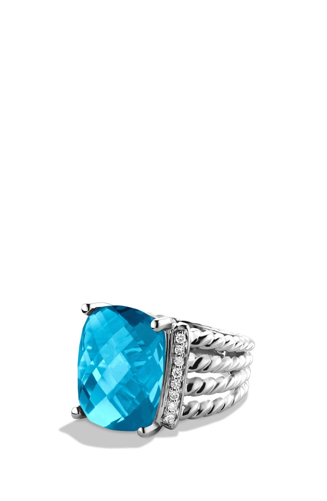 DAVID YURMAN 'Wheaton' Ring with Semiprecious Stone & Diamonds, Main, color, BLUE TOPAZ